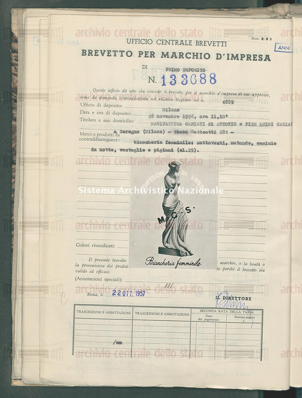 Biancheria femminile, sottovesti, mutande ecc. Manifattura Cabiati Di Antonio E Pier Luigi Cabiati (22/10/1957)