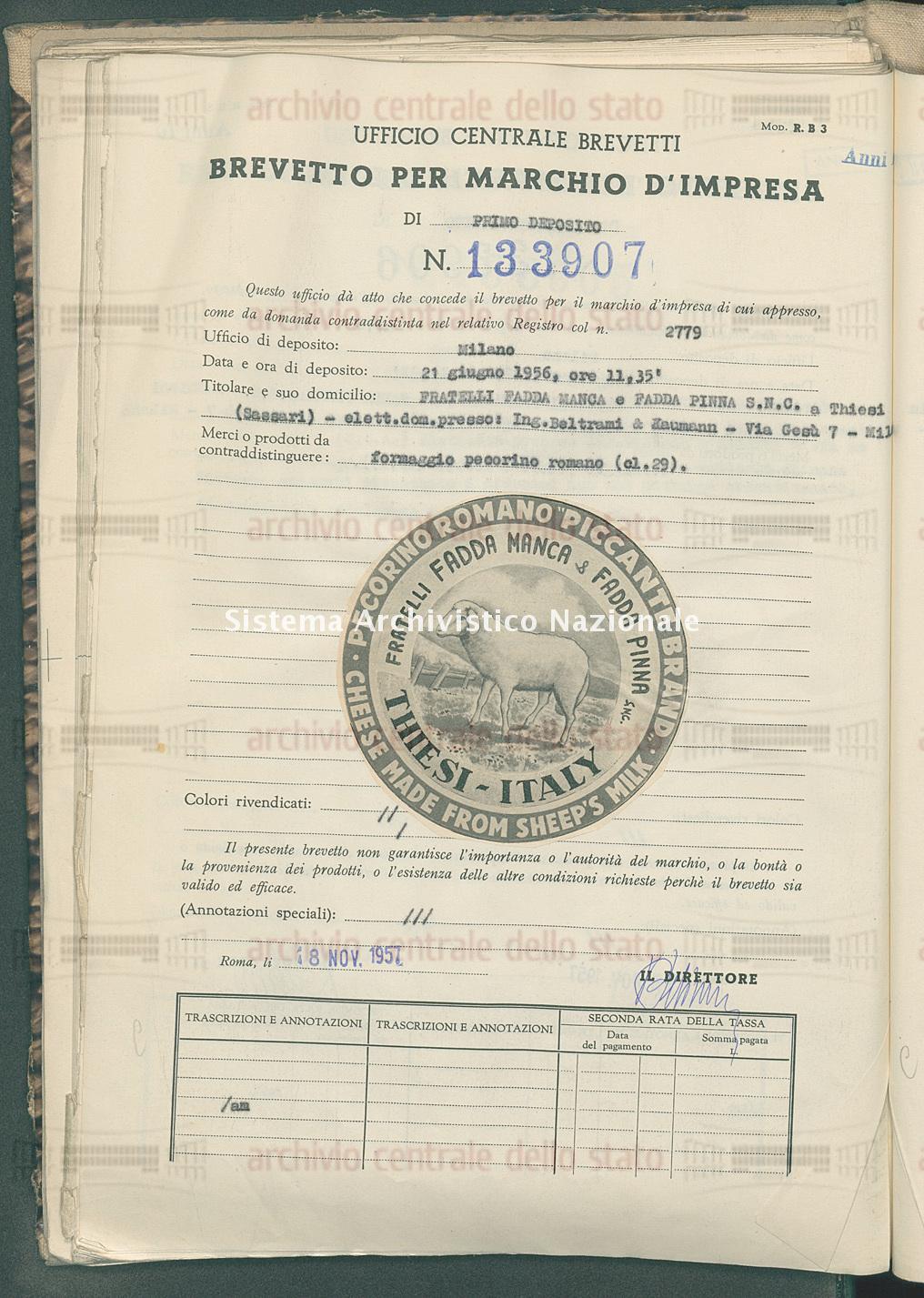 Formaggio pecorino romano Fratelli Fadda Manca E Fadda Pinna S.N.C. (18/11/1957)
