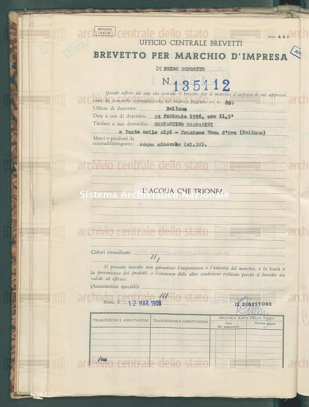Acqua minerale Costantino Gasparini (12/03/1958)