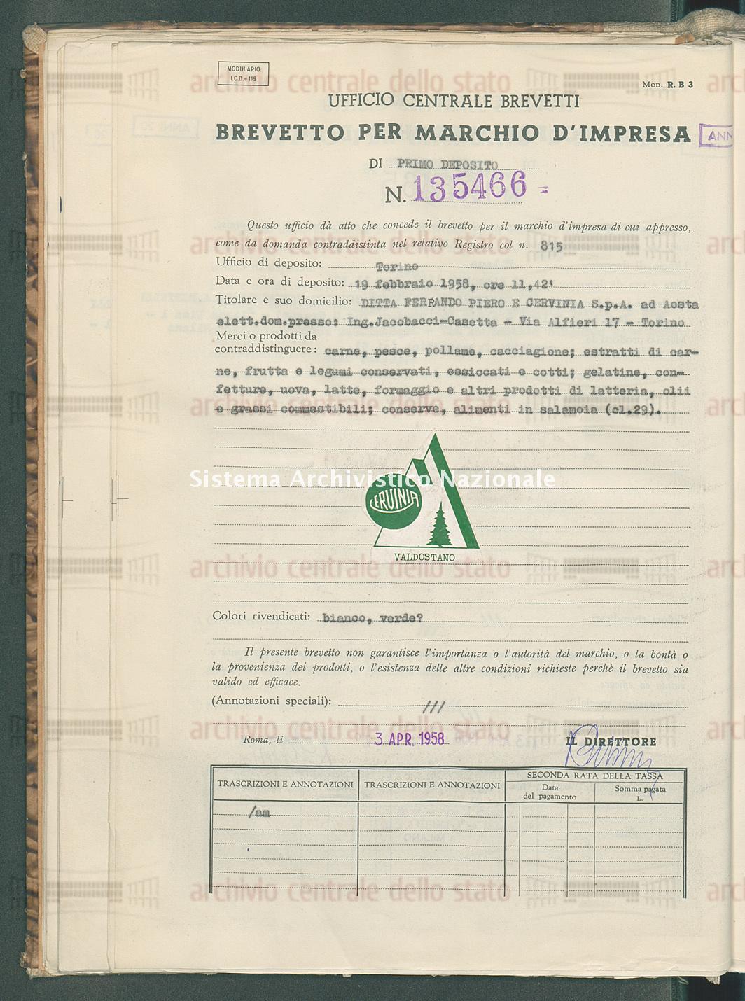 Carne , pesce, pollame ecc. Ditta Ferrando Piero E Cervinia S.P.A. (03/04/1958)