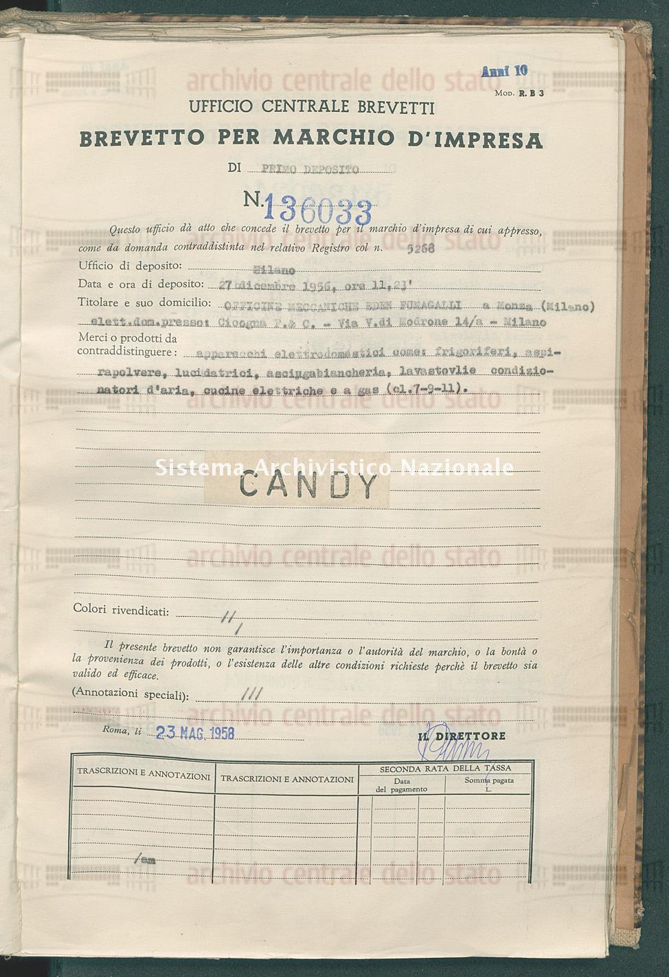 Apparecchi elettrodomestici come ecc. Officine Meccaniche Eden Fumagalli (23/05/1958)
