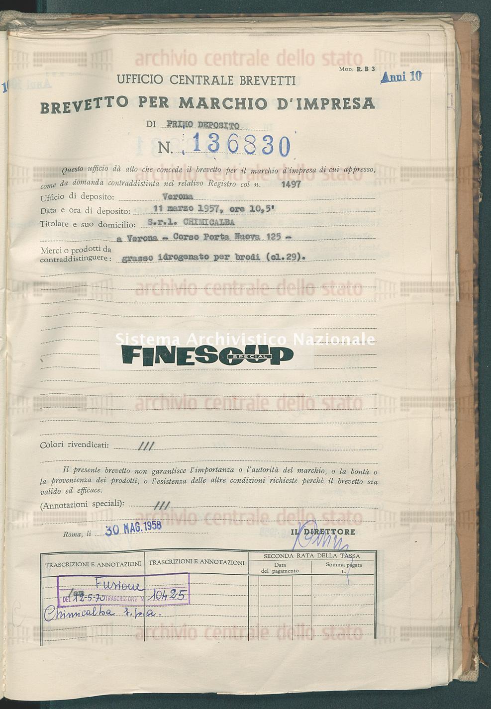 Grasso idrogenato per brodi S.R.L. Chimicalba (30/05/1958)
