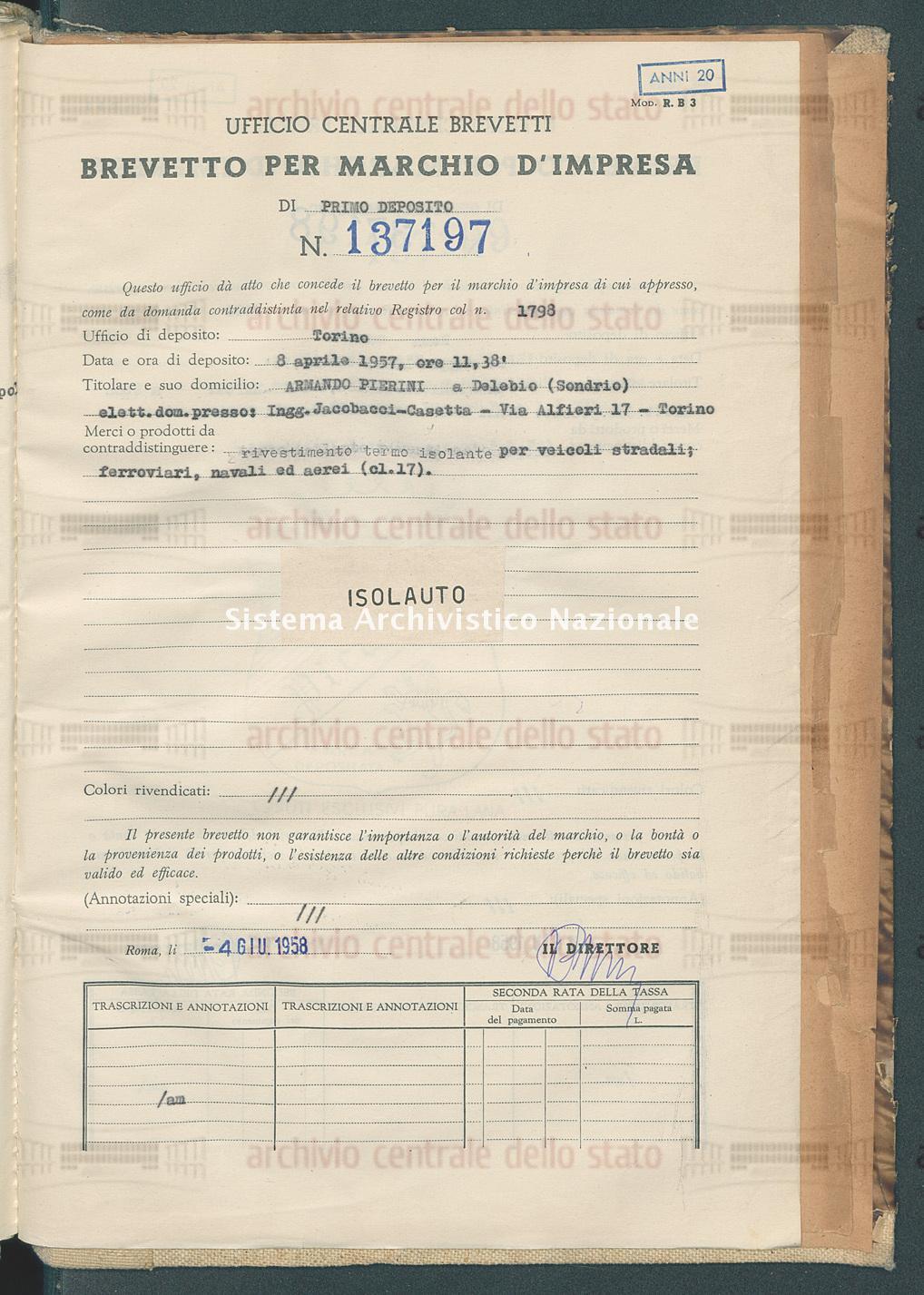Rivestimento termo isolante ecc. Armando Pierini (04/06/1958)