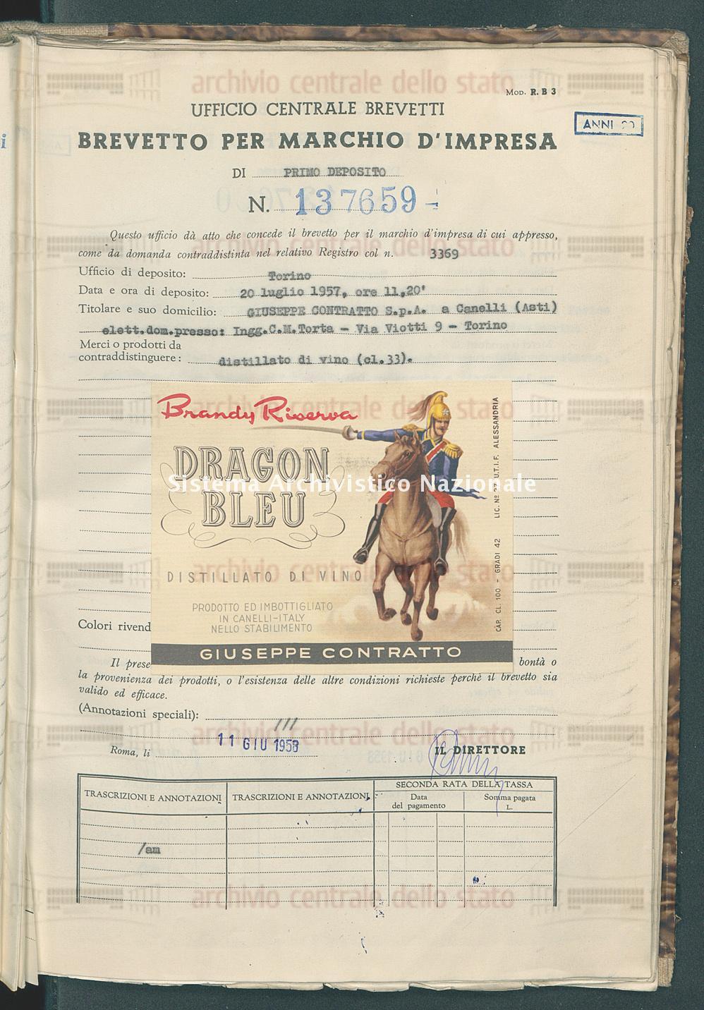 Distillato di vino Giuseppe Contratto S.P.A. (11/06/1958)