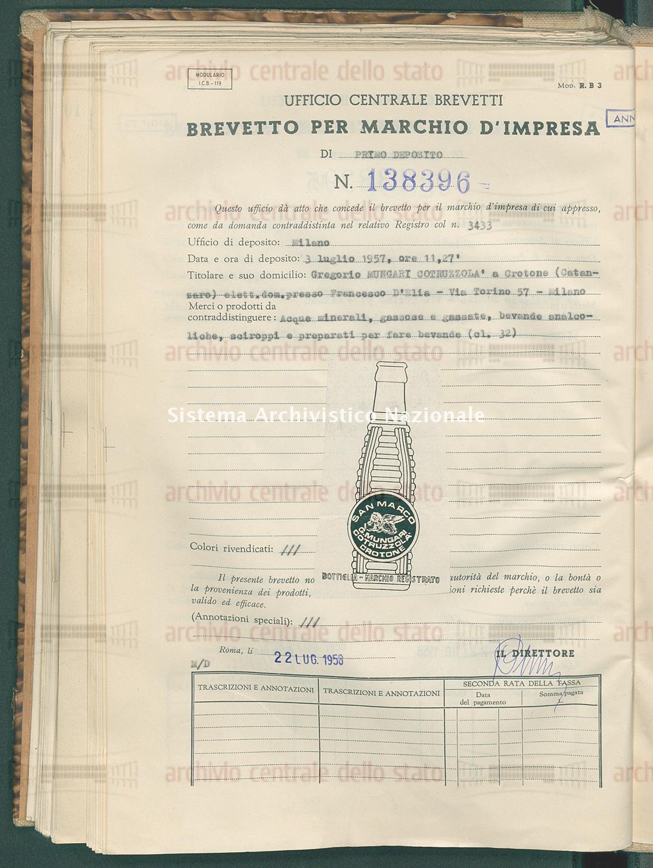 Acque minerali, gassose ecc. Gregorio Mungari Cotruzzola' (22/07/1958)
