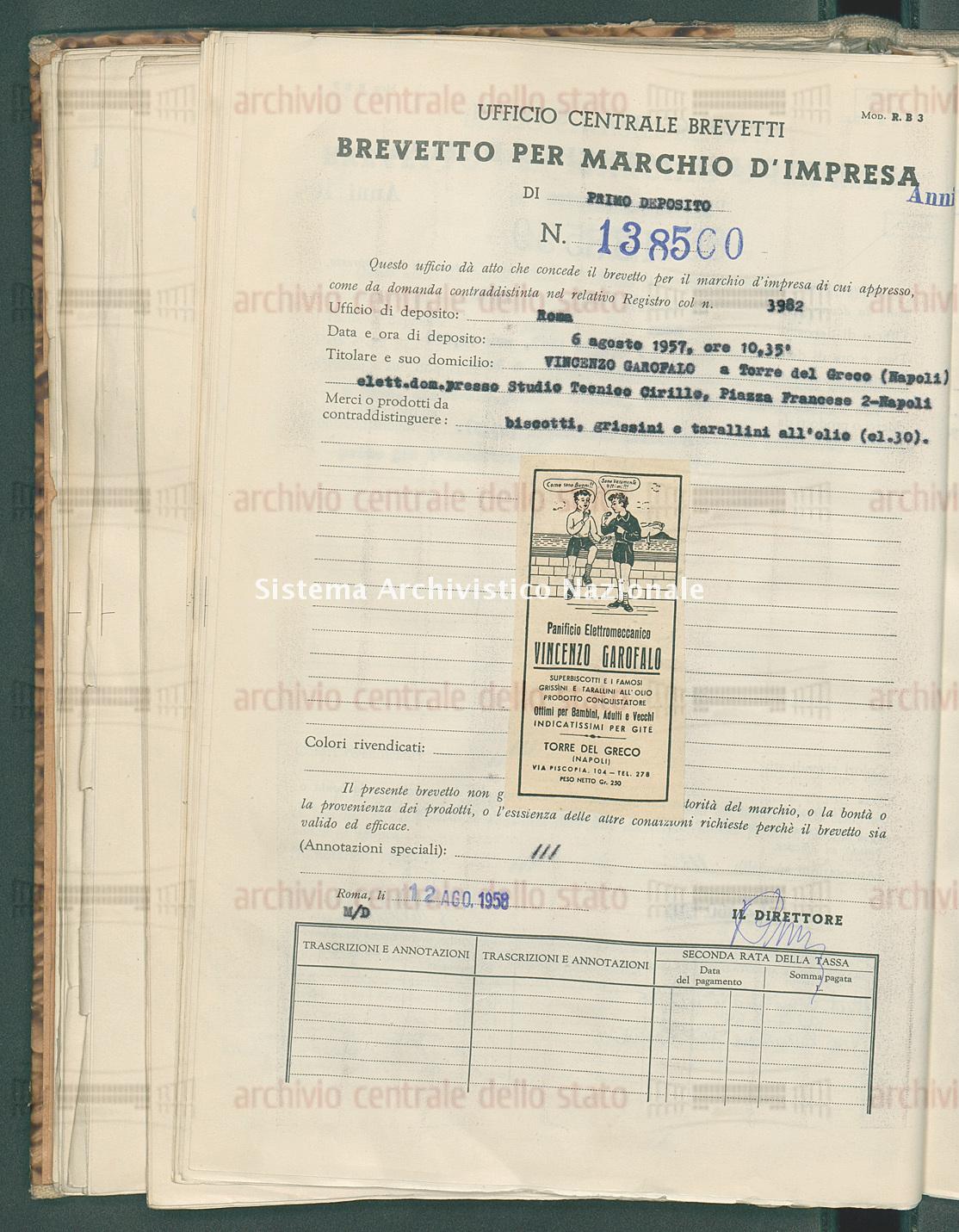 Biscotti, grissini e tarallini all'olio Vincenzo Garofalo (12/08/1958)