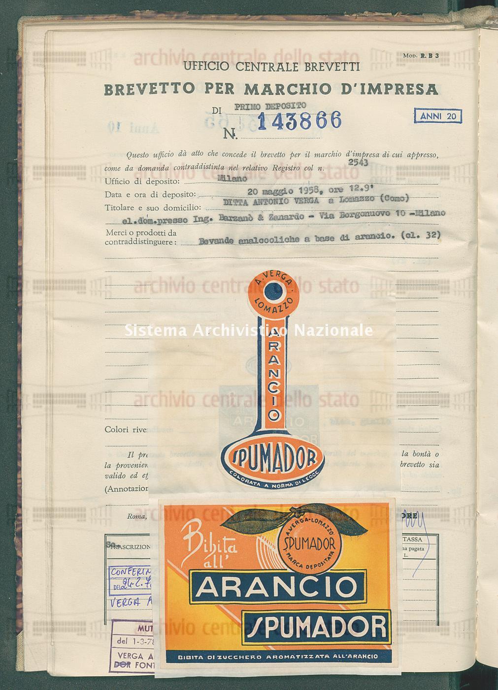 Bevande analcooliche a base ecc. Ditta Antonio Verga (25/05/1959)
