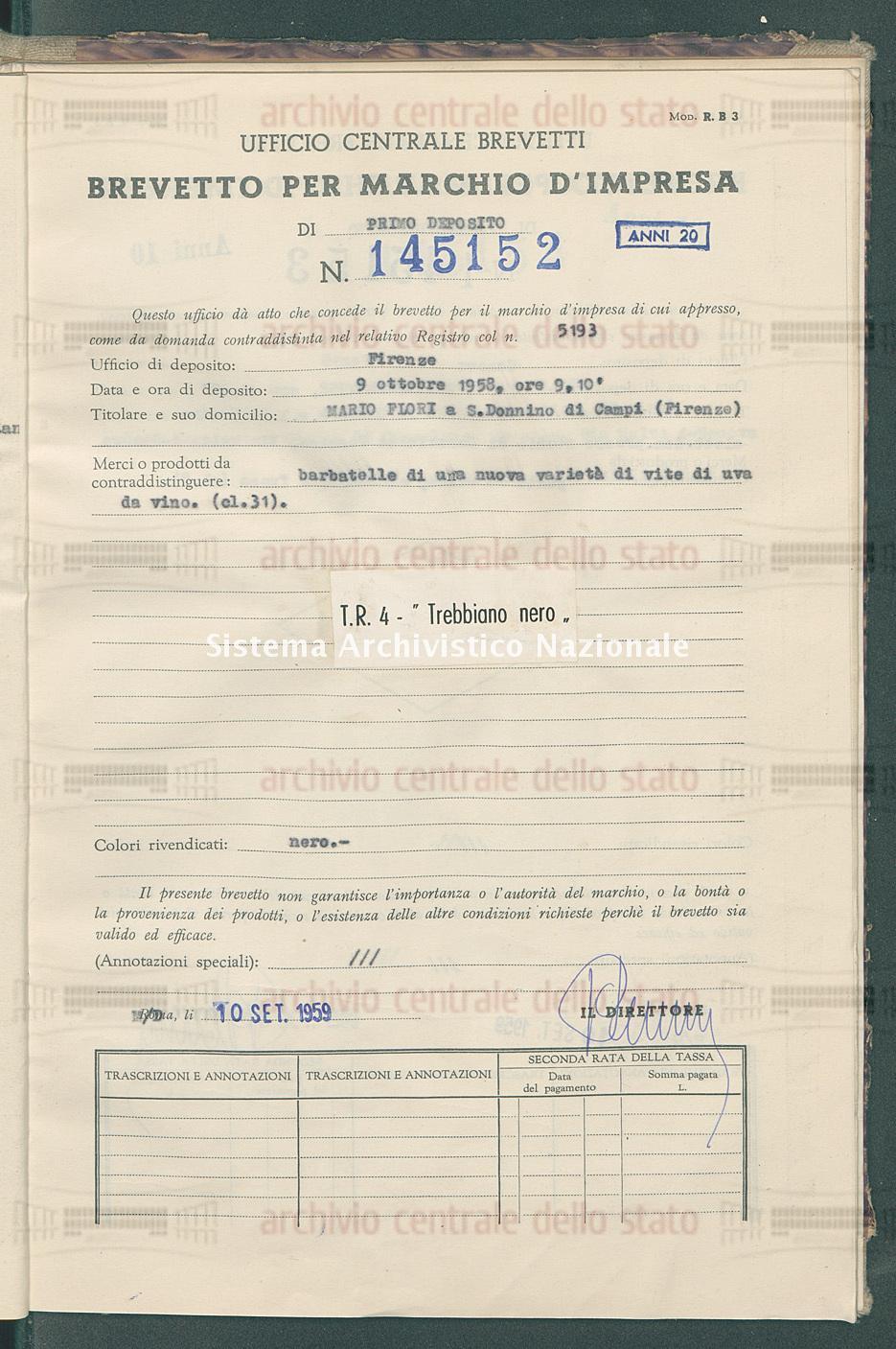 Barbatelle di una nuova ecc. Mario Flori (10/09/1959)