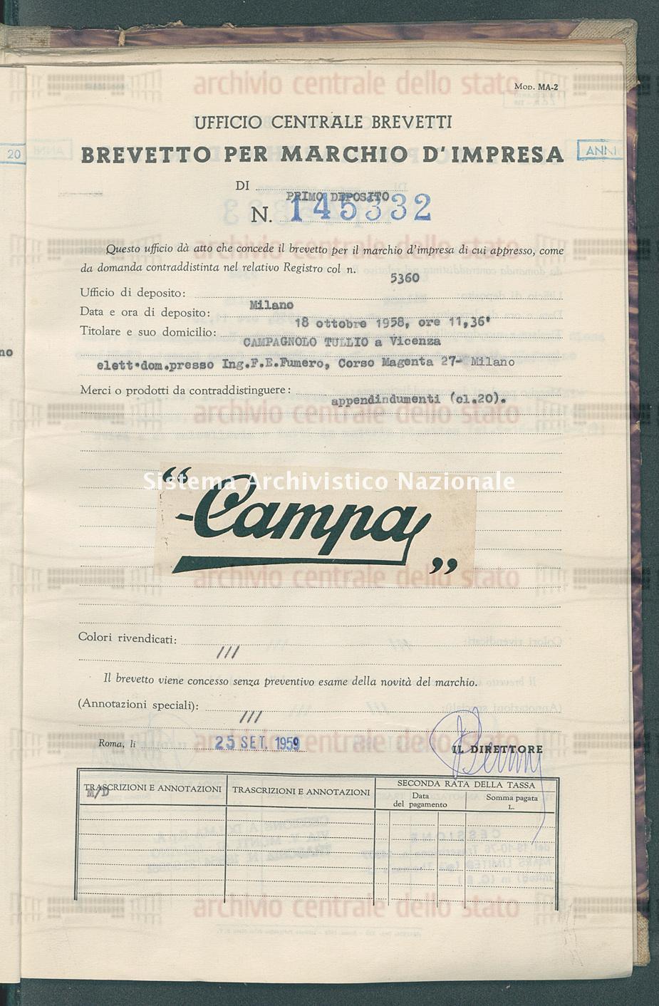 Appendindumenti Campagnolo Tullio (25/09/1959)