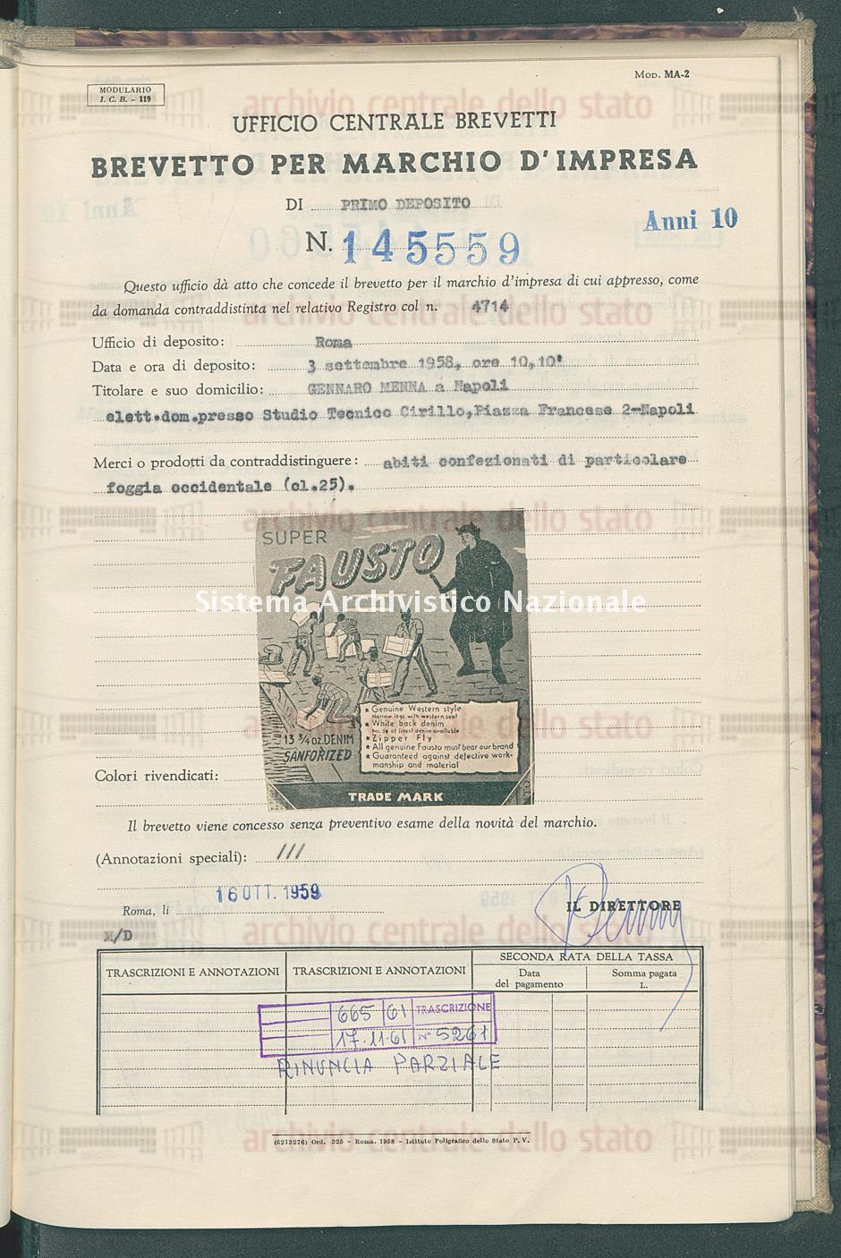 Abiti confezionati di particolare ecc. Gennaro Menna (16/10/1959)