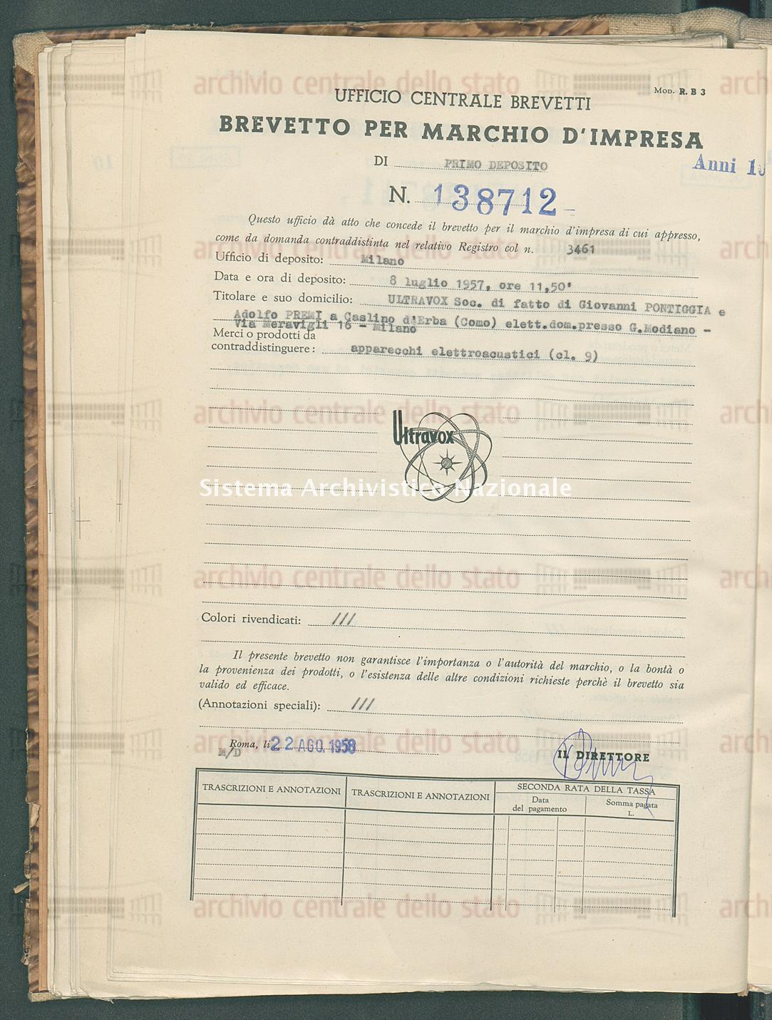 Apparecchi elettrodomestici Ultravox Soc. Di Fatto Di Giovanni Pontiggia E Adolfo Premi (22/08/1958)
