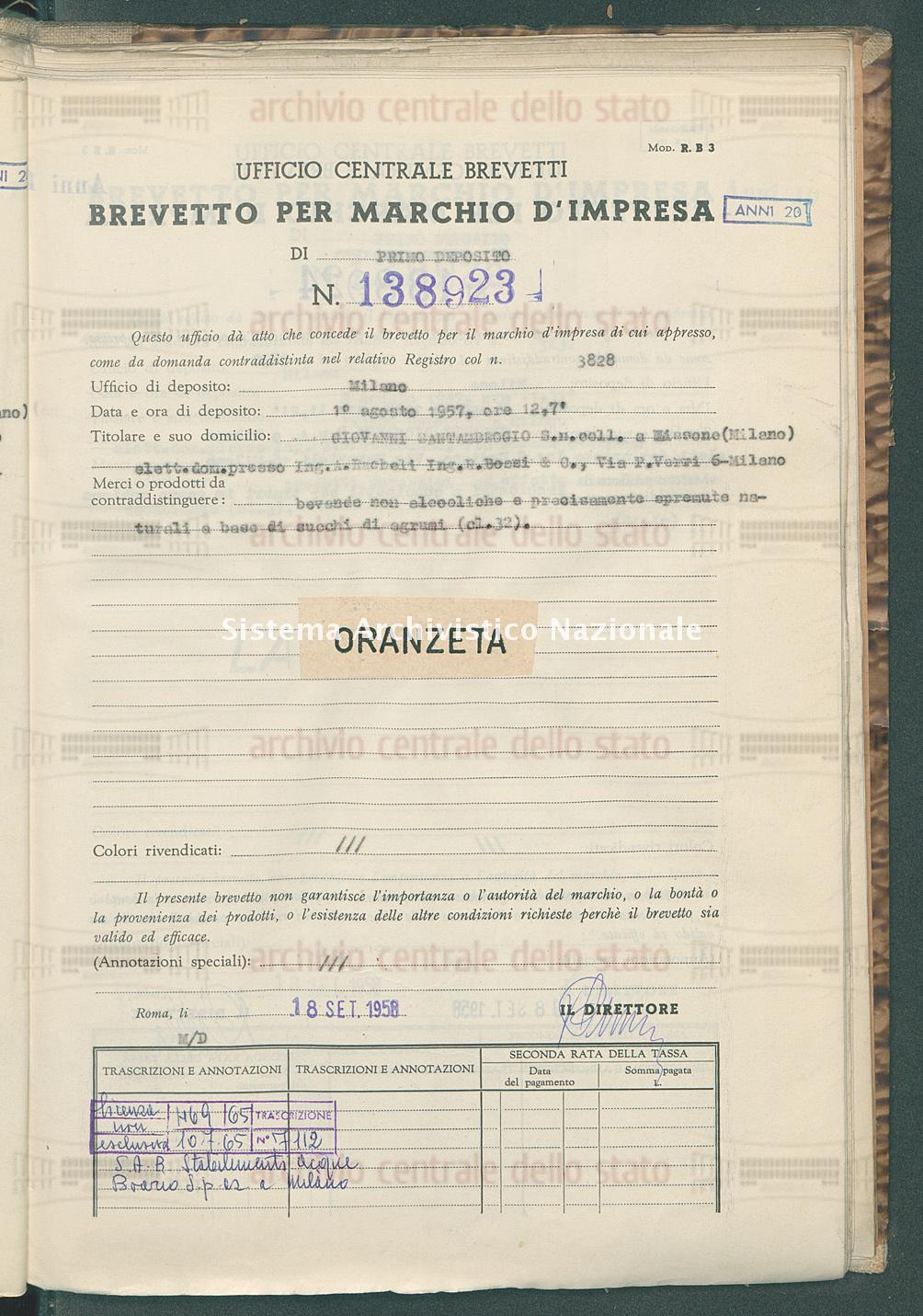 Bevande non alcooliche ecc. Giovanni Santambrogio S.N.Coll. (18/09/1958)