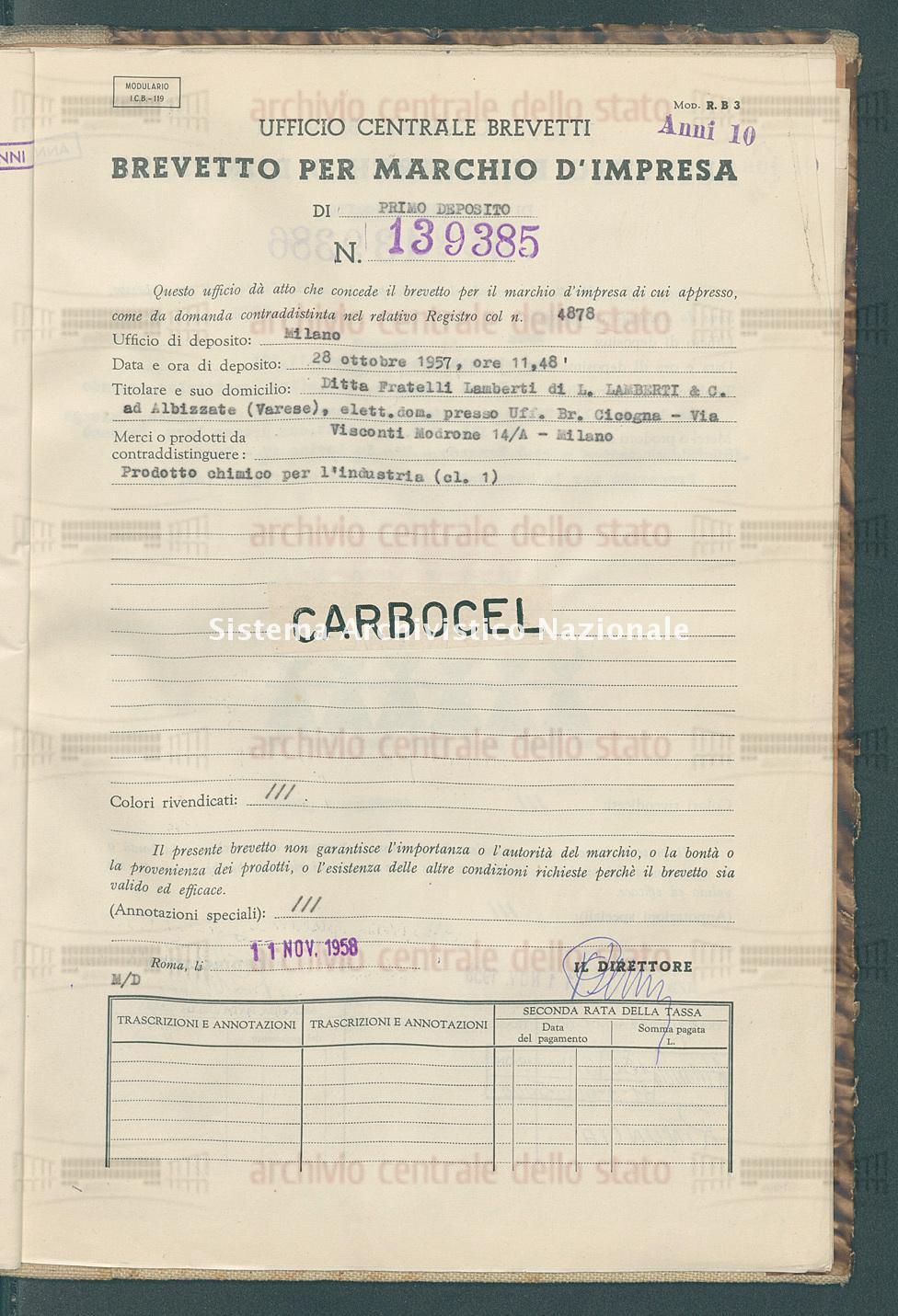Prodotto chimico per l'industria Ditta Fratelli Lamberti Di L. Laberti & C. (11/11/1958)