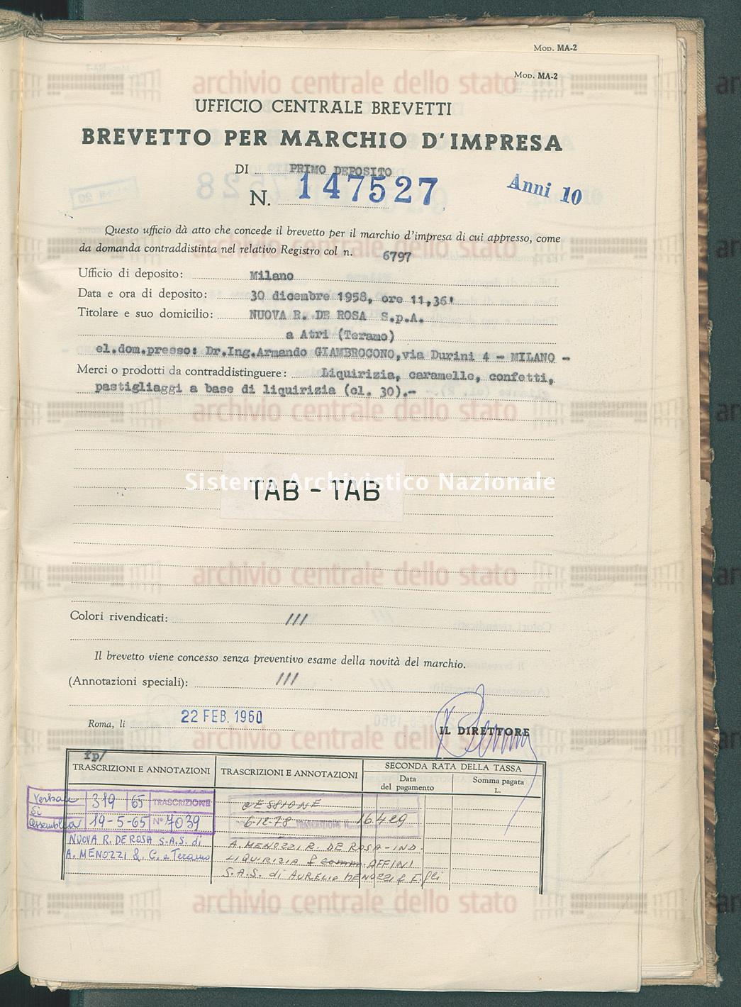 Liquirizia, caramelle, confetti ecc. Nuova R. De Rosa S.P.A. (22/02/1960)