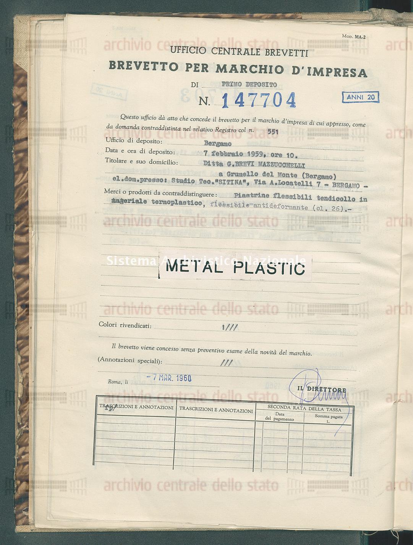 Piastrine flessibili tendicollo ecc. Ditta G. Brevi Mazzucchelli (07/03/1960)