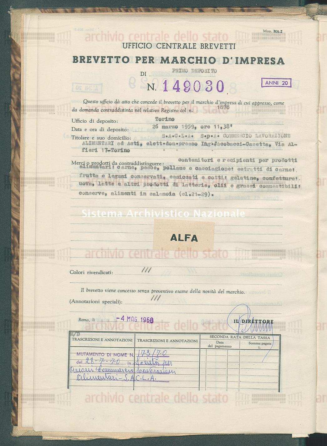 Contenitori e recipienti per ecc. S.A.C.L.A. S.P.A. Commercio Lavorazione Alimentari (04/05/1960)