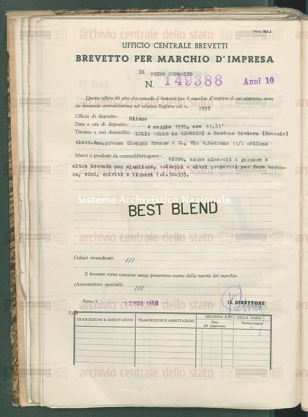 Birra, acque minerali ecc. Lelia Wells In Simonini (17/05/1960)