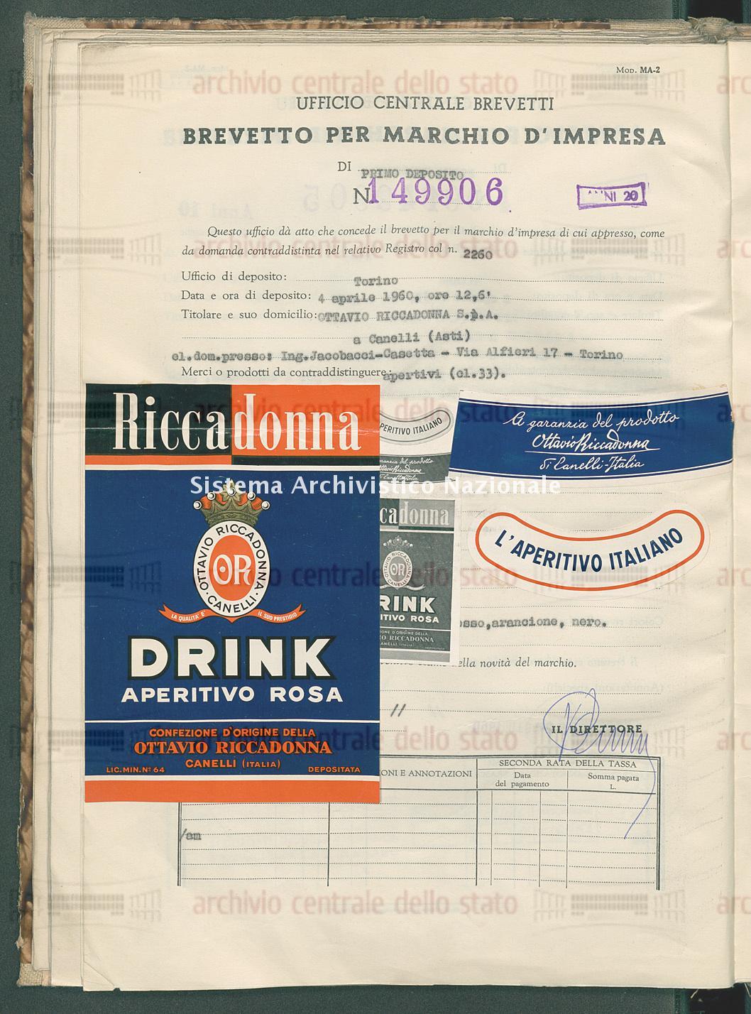 Aperitivi Ottavio Riccadonna S.P.A. (27/06/1960)