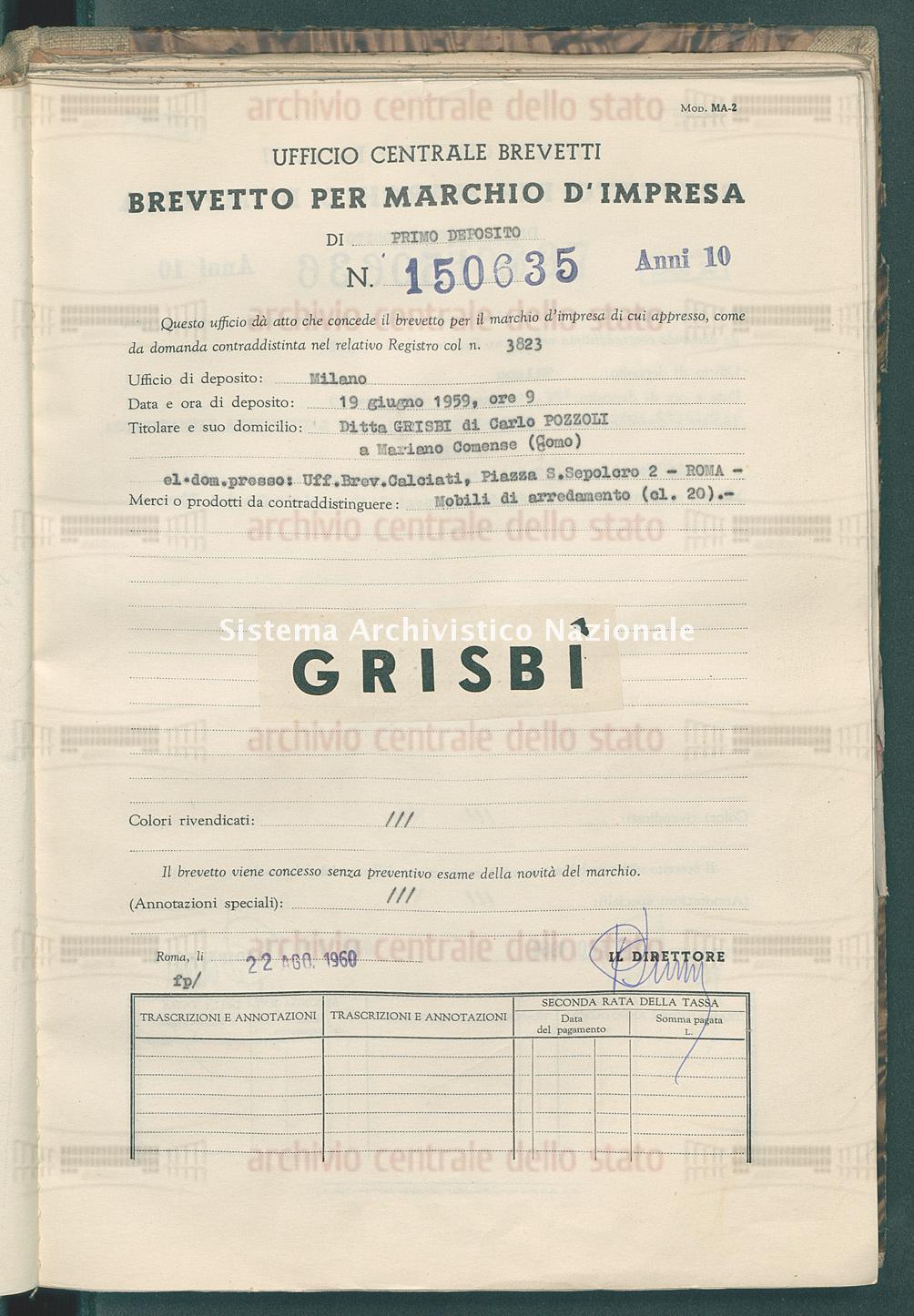 Mobili di arredamento Ditta Grisbi Di Carlo Pozzoli (22/08/1960)