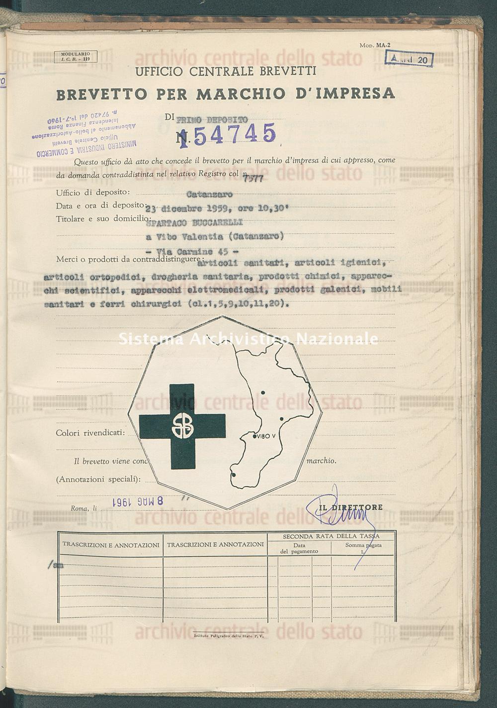 Articoli sanitari, articoli ecc. Spartaco Buccarelli (08/05/1961)