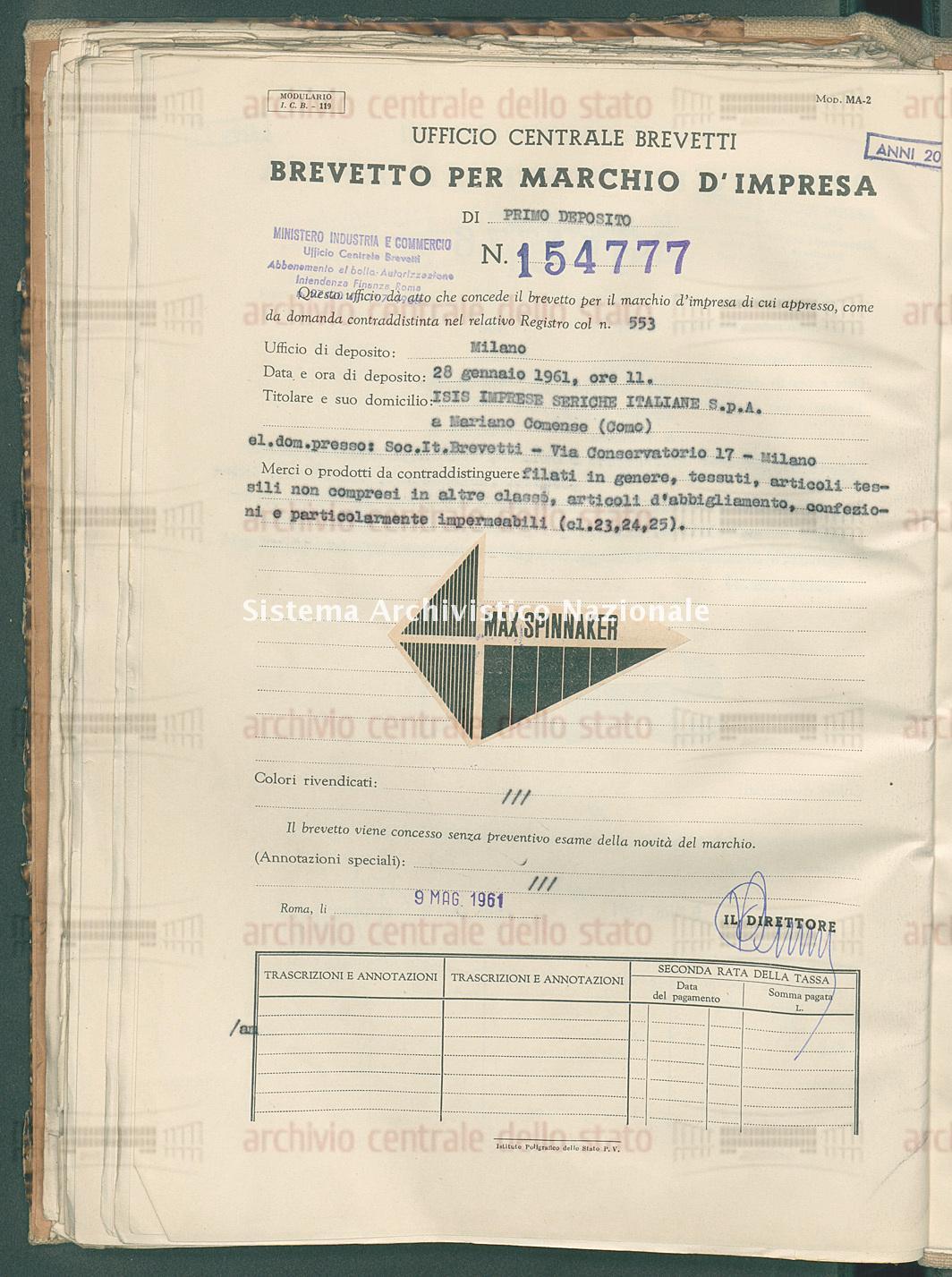 Filati in genere, tessuti ecc. Isis Imprese Seriche Italiane S.P.A. (09/05/1961)