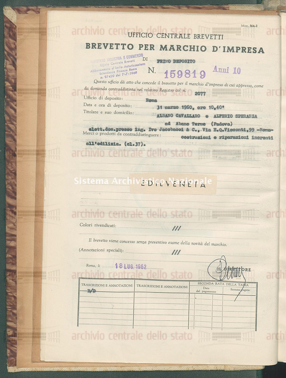 Costruzioni e riparazioni ecc. Albano Cavallaro E Alferio Speranza (18/07/1962)