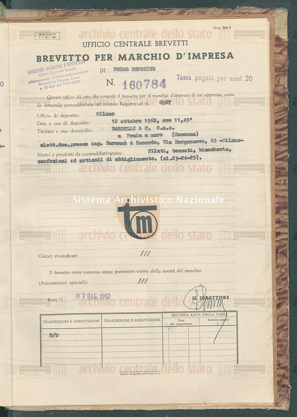 Filati, tessuti, biancheria ecc. Bardelli & C. S.A.S. (17/12/1962)