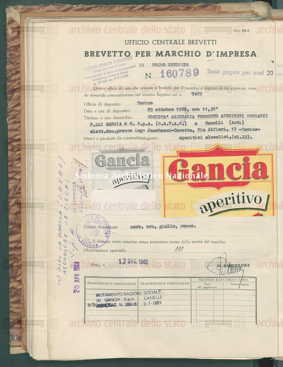Aperitivi alcoolici Societa' Azionaria Vermouth Aperitivi Spumanti F.Lli Gancia & C. S.P.A. (S.A.V.A.S.) (17/12/1962)