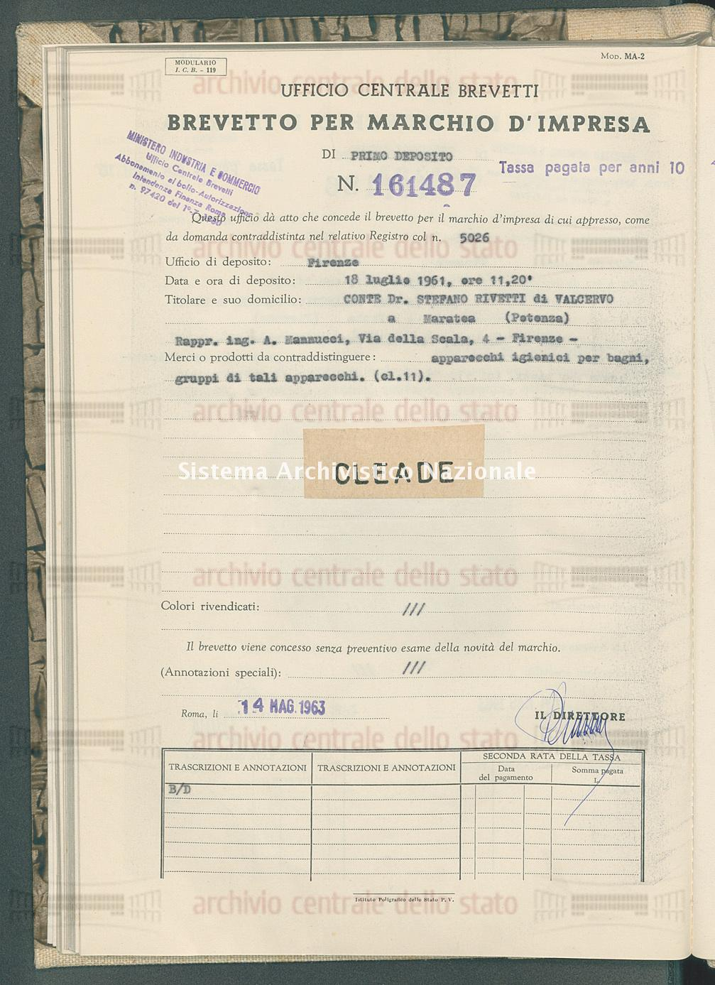 Apparecchi igienici per bagni ecc. Conte Dr. Stefano Rivetti Di Valcervo (14/05/1963)