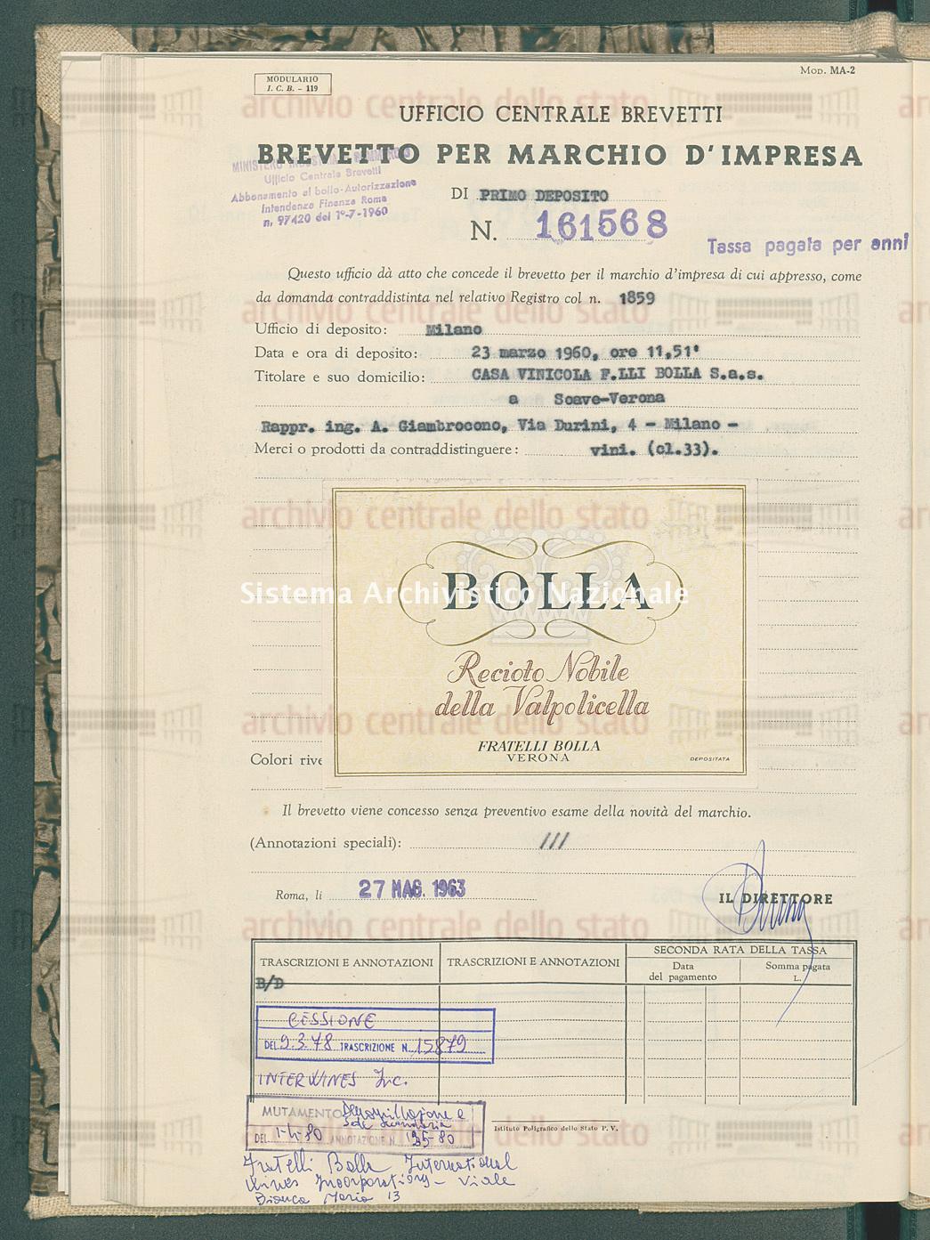 Vini Casa Vinicola F.Lli Bolla S.A.S. (27/05/1963)