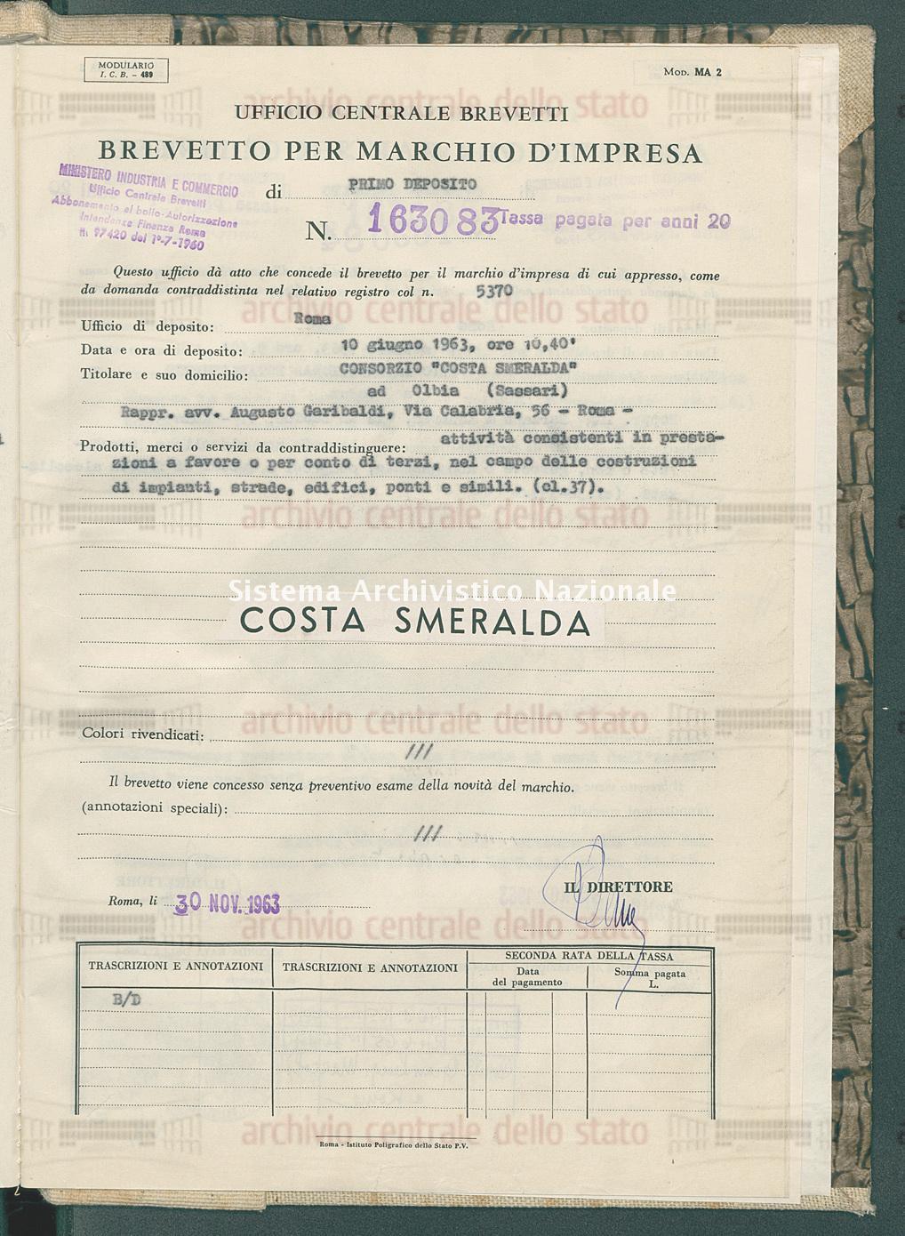 Attivita' consistenti in prestazioni ecc. Consorzio 'Costa Smeralda' (30/11/1963)