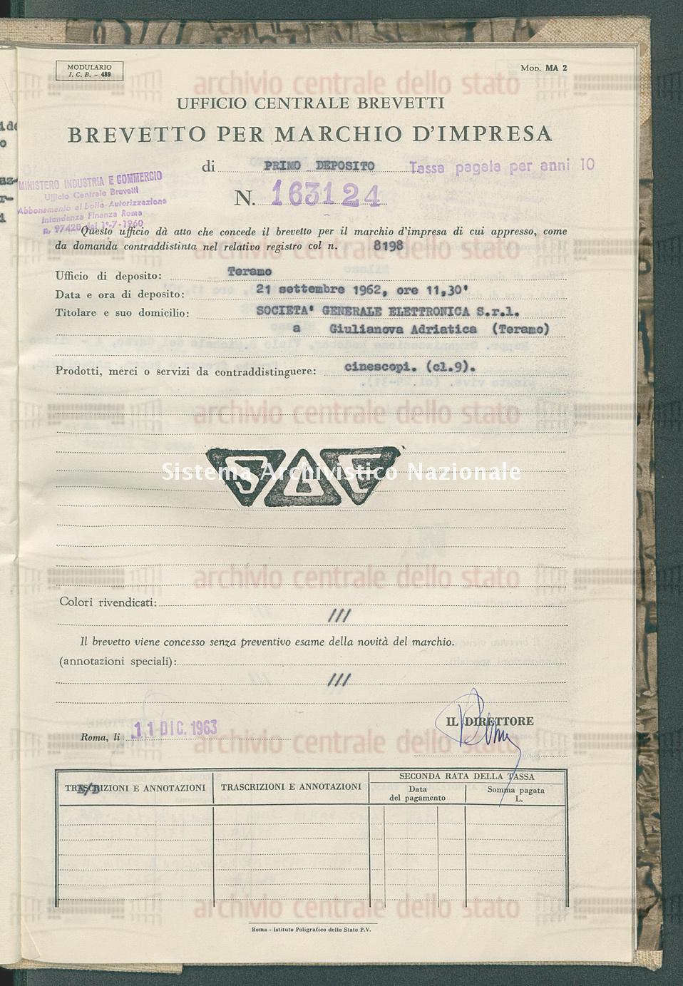Cinescopi Societa' Generale Elettronica S.R.L. (11/12/1963)