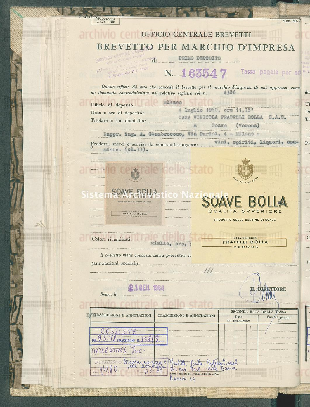 Vini, spiriti, liquori ecc. Casa Vinicola Fratelli Bolla S.A.S. (21/01/1964)