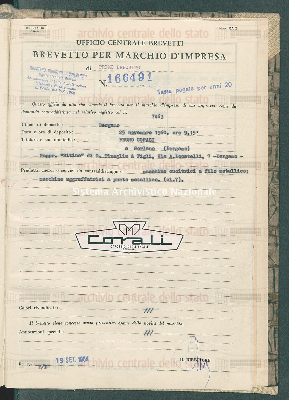 Macchine cucitrici a filo ecc. Bruno Corali (19/09/1964)