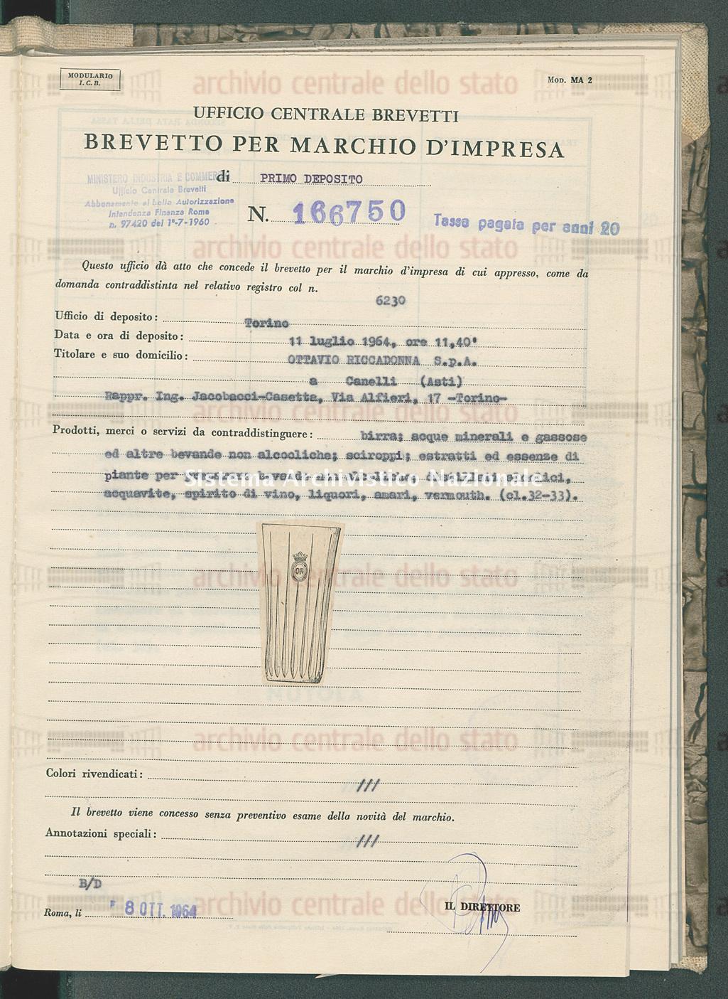 Birra, acque minerali ecc. Ottavio Riccadonna S.P.A. (08/10/1964)