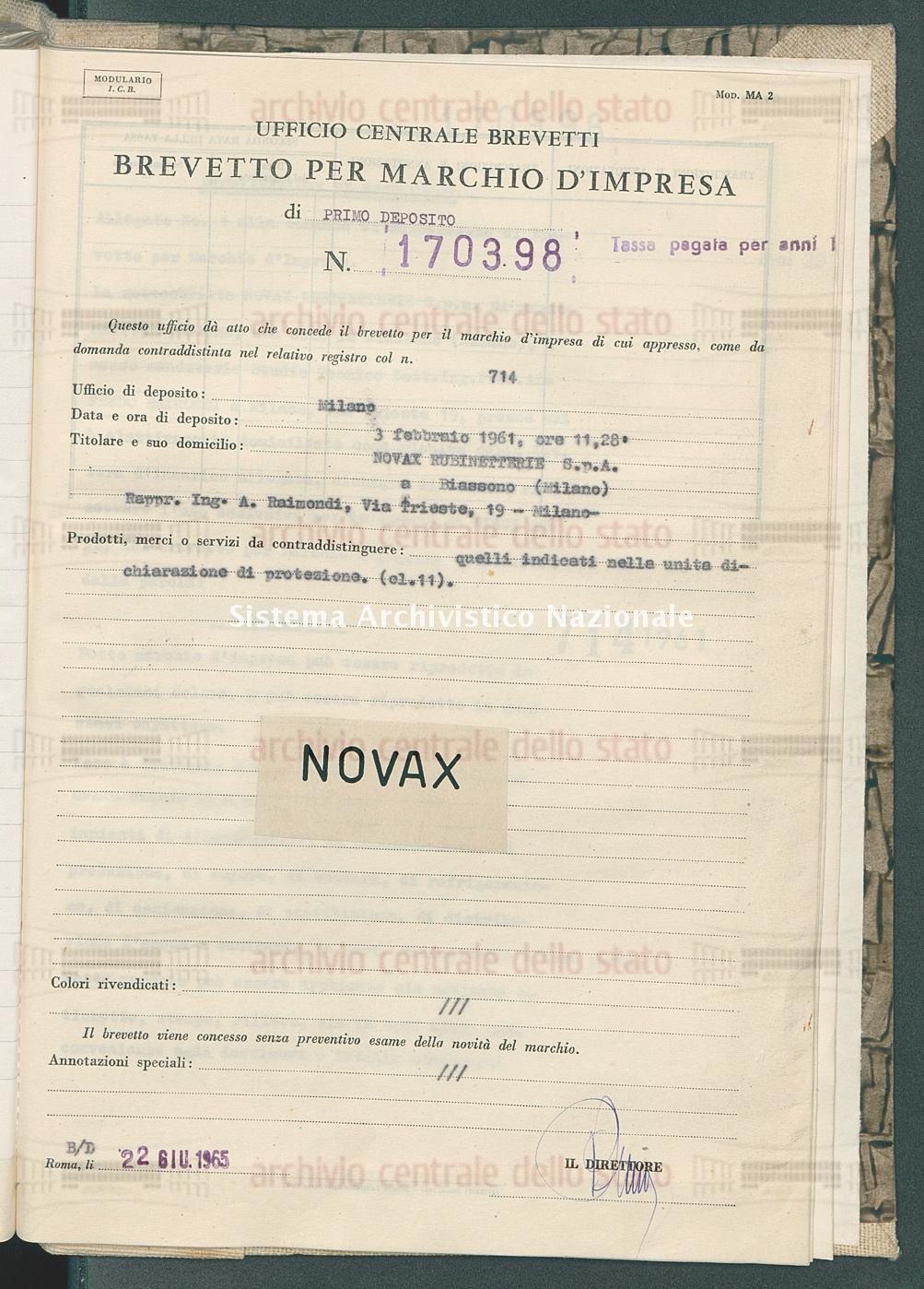 Quelli indicati nella ecc. Novax Rubinetterie S.P.A. (22/06/1965)