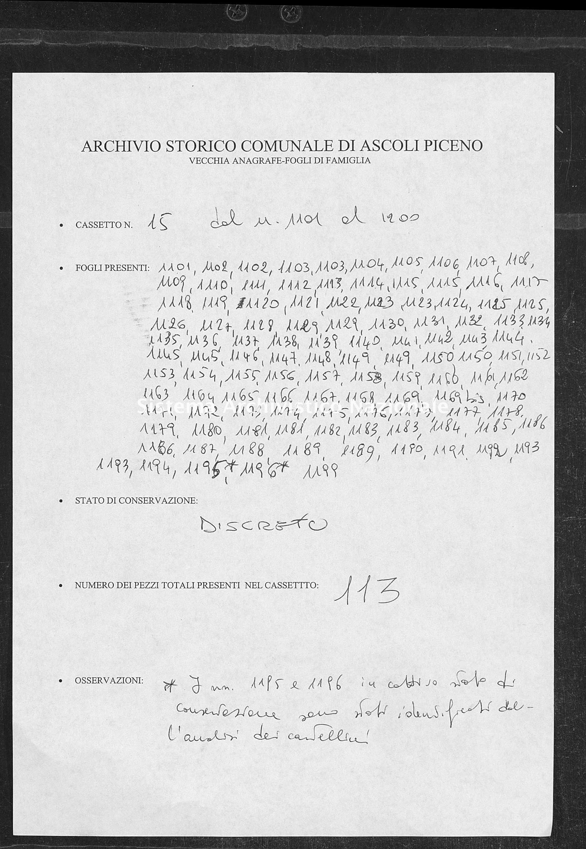 Archivio di stato di Ascoli Piceno - Stato civile italiano - Ascoli Piceno - Censimento - 1800-1880 - 15, fogli 1101-1199 -