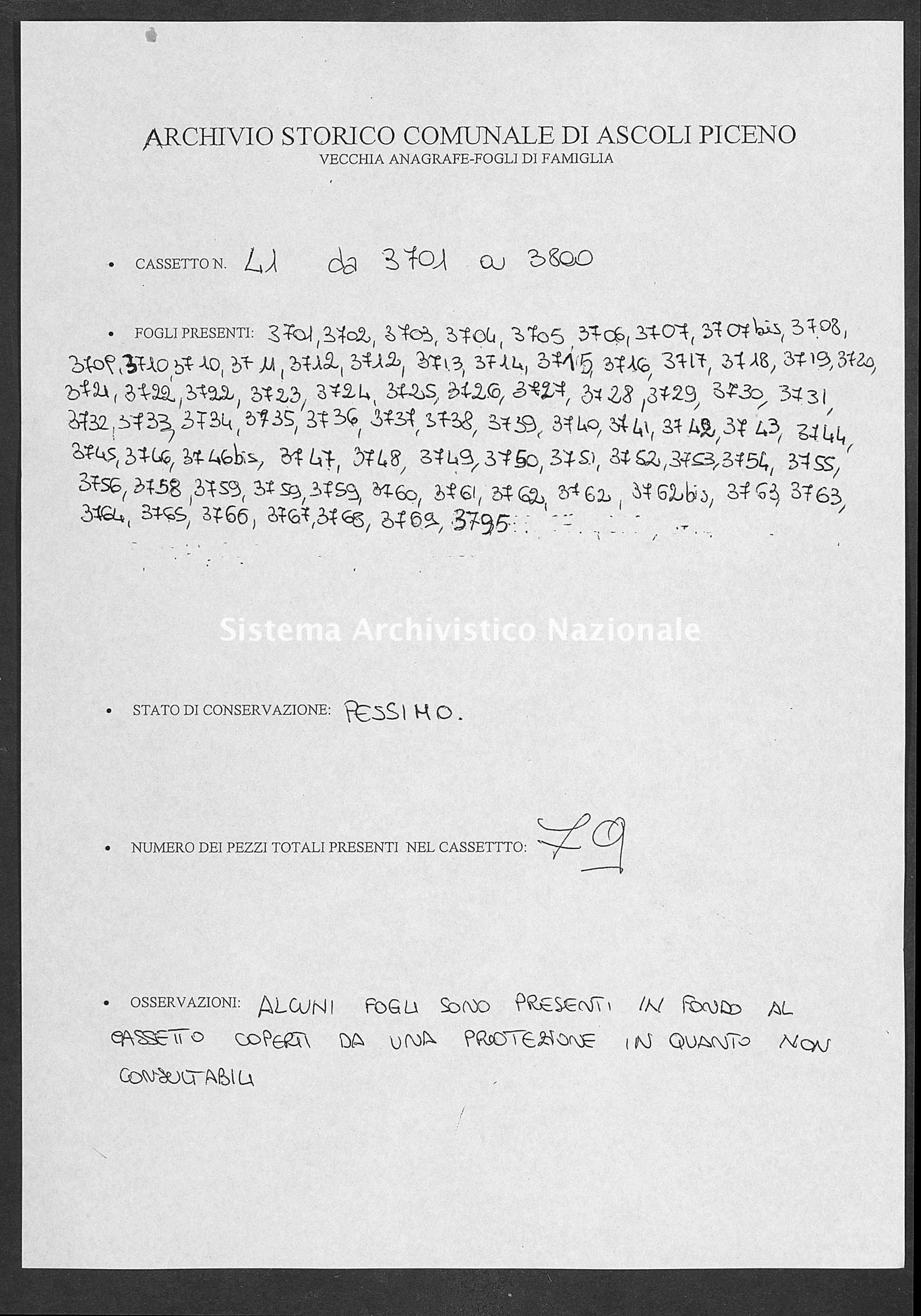 Archivio di stato di Ascoli Piceno - Stato civile italiano - Ascoli Piceno - Censimento - 1800-1880 - 41, fogli 3701-3795 -