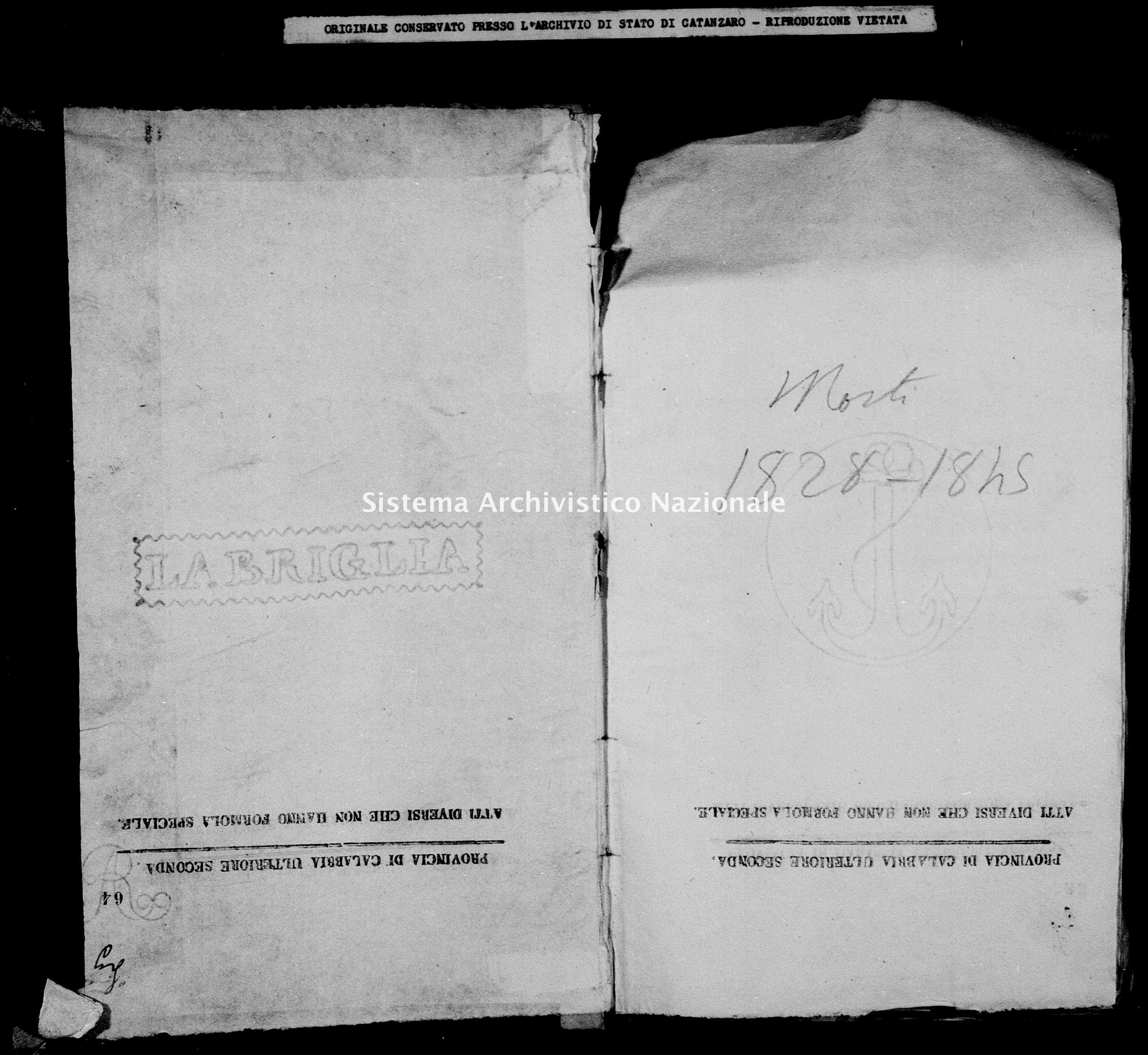 Archivio di stato di Catanzaro - Stato civile della restaurazione - Bella - Morti - 1828 -