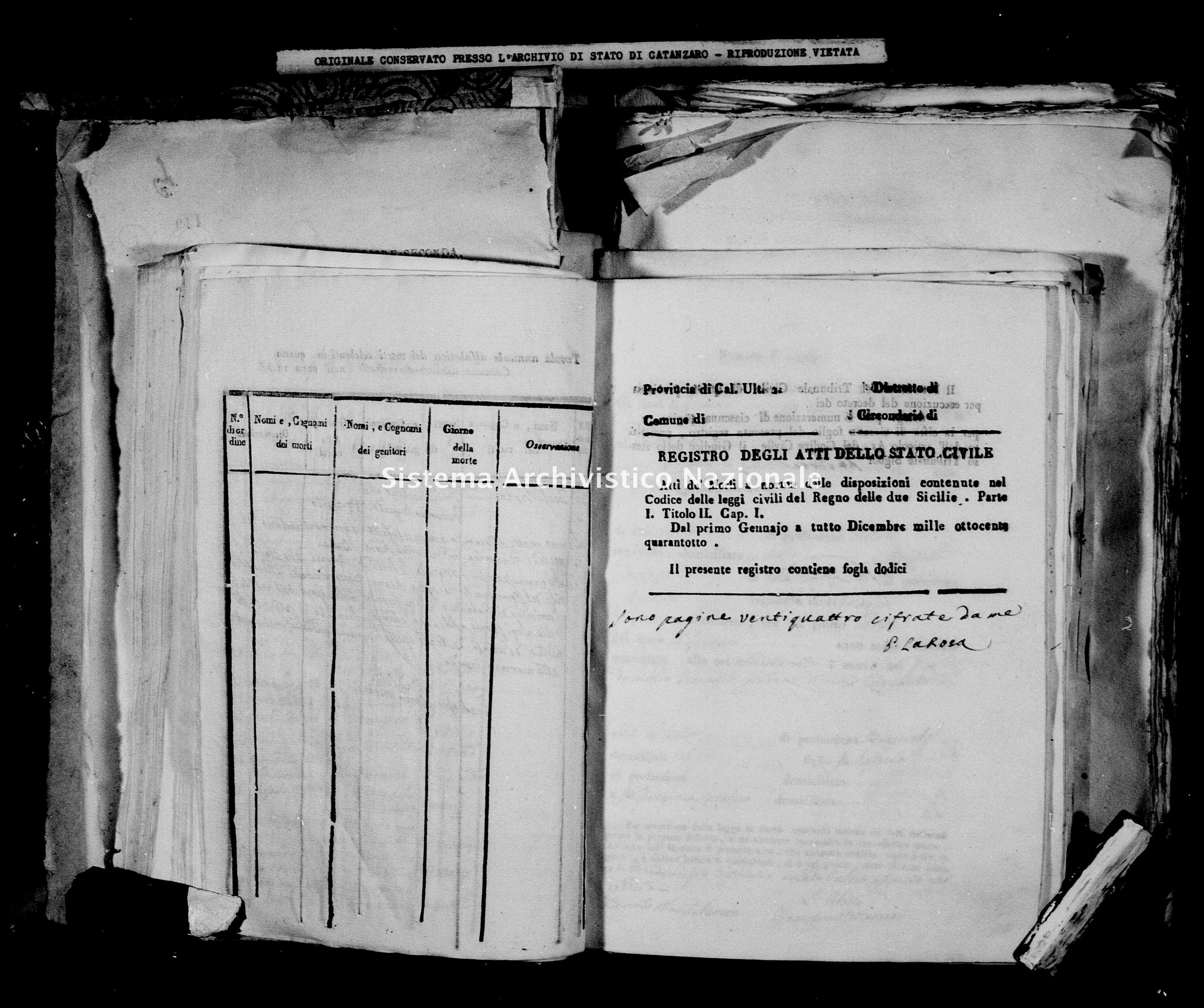 Archivio di stato di Catanzaro - Stato civile della restaurazione - Bella - Morti - 1848 -