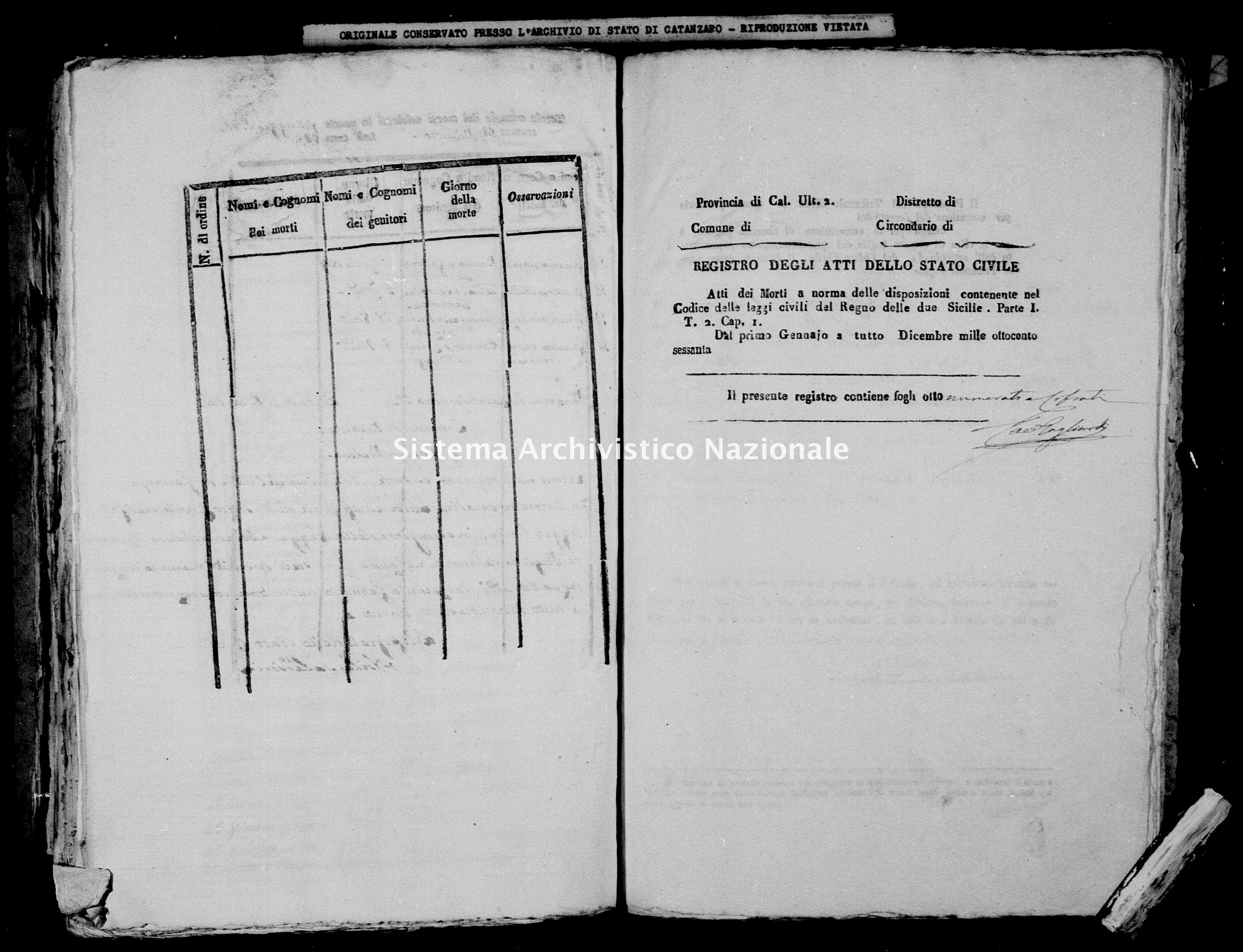 Archivio di stato di Catanzaro - Stato civile della restaurazione - Bella - Morti - 1860 -