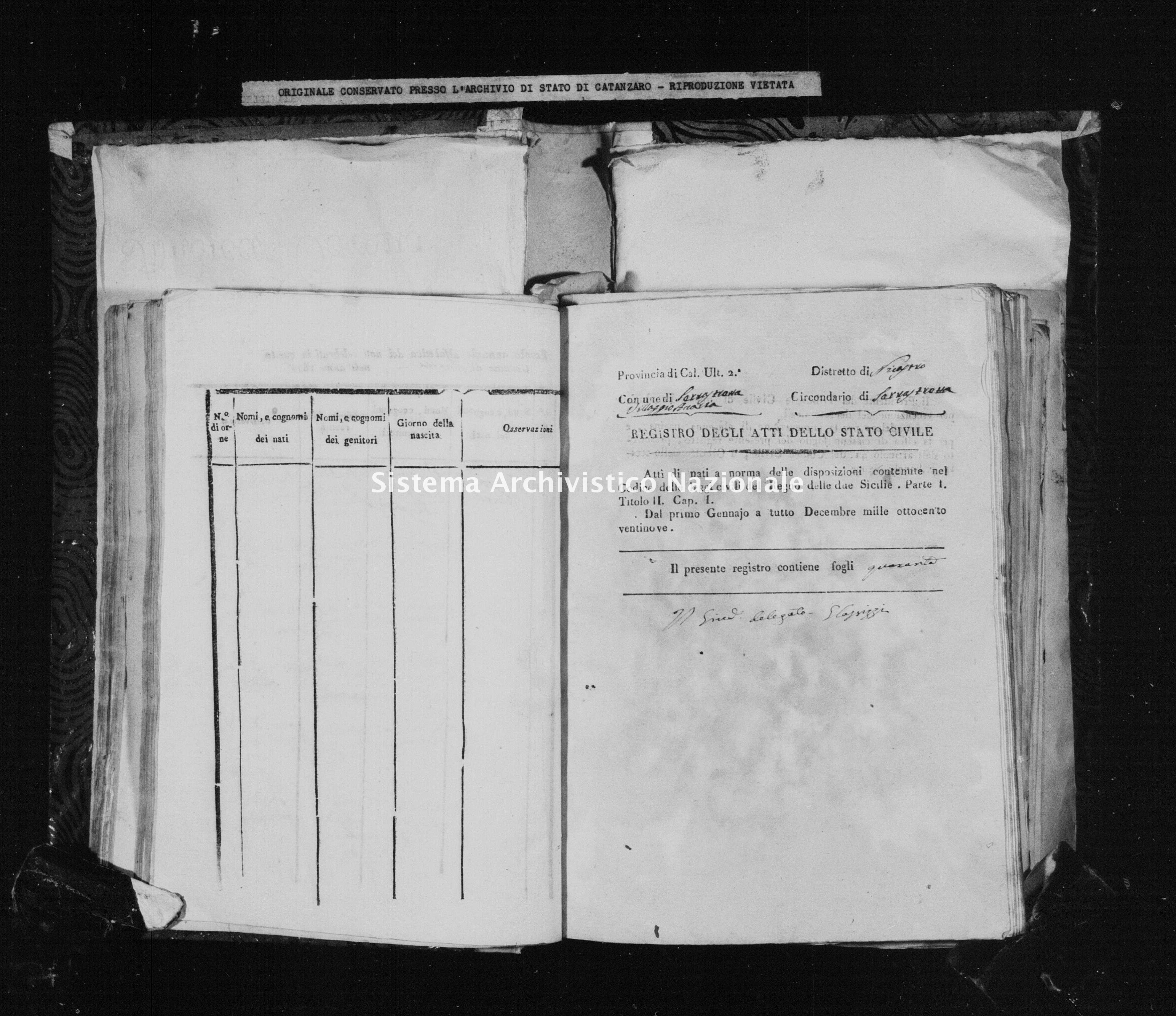 Archivio di stato di Catanzaro - Stato civile della restaurazione - Accaria - Nati - 1829 -