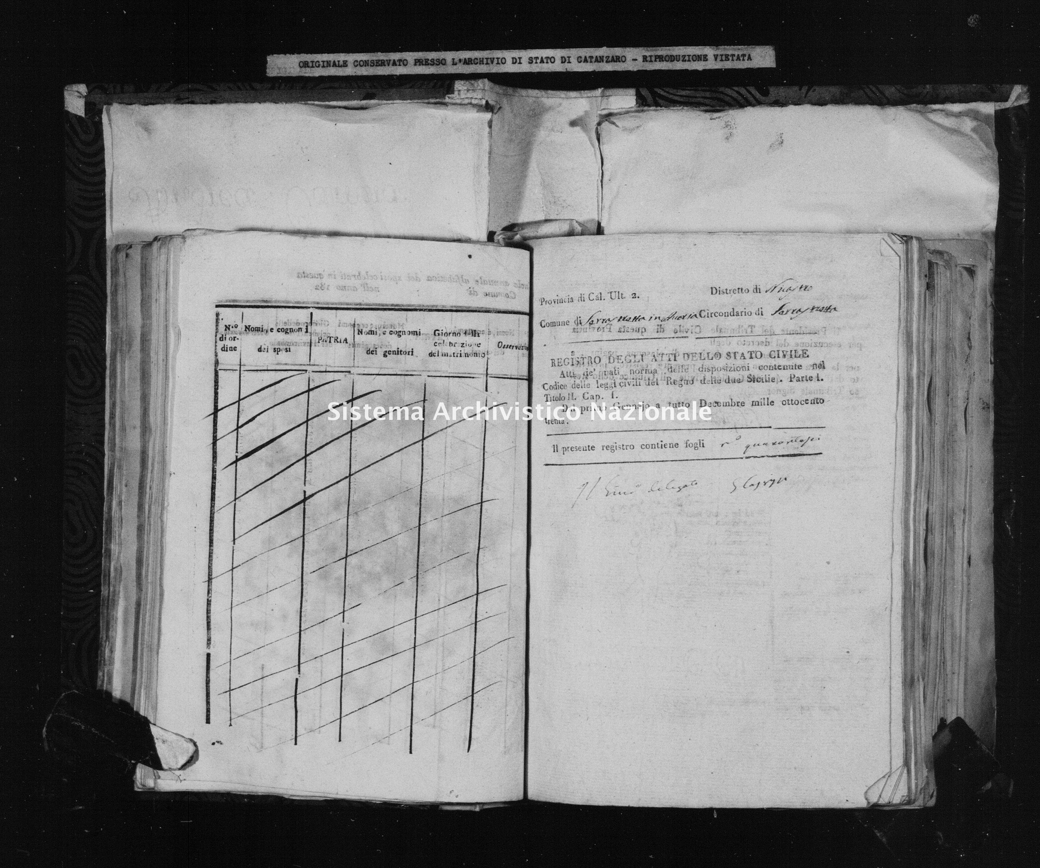 Archivio di stato di Catanzaro - Stato civile della restaurazione - Accaria - Nati - 1830 -