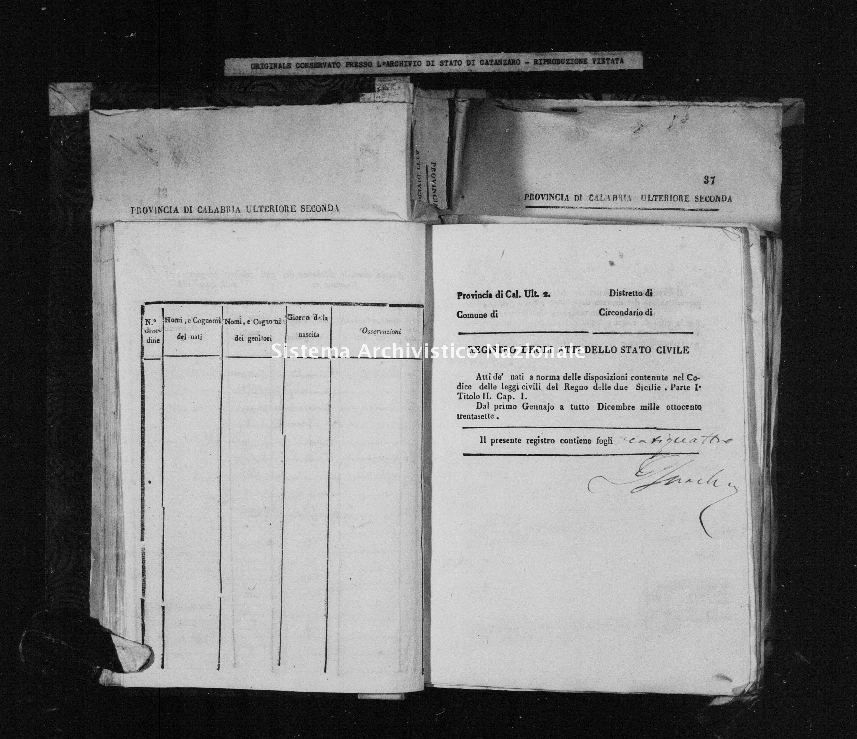 Archivio di stato di Catanzaro - Stato civile della restaurazione - Accaria - Nati - 04/10/1837-25/12/1837 -