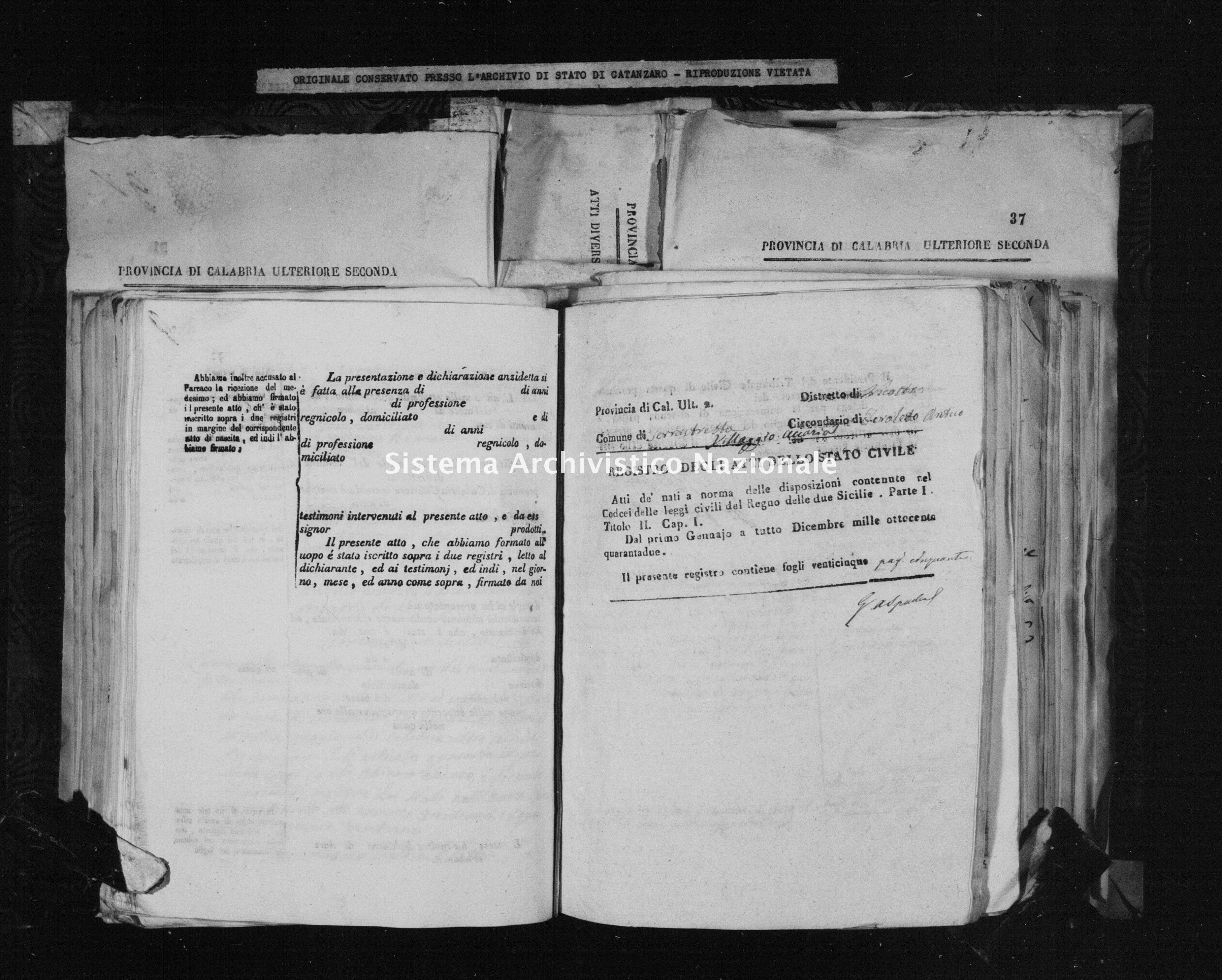 Archivio di stato di Catanzaro - Stato civile della restaurazione - Accaria - Nati - 1842 -