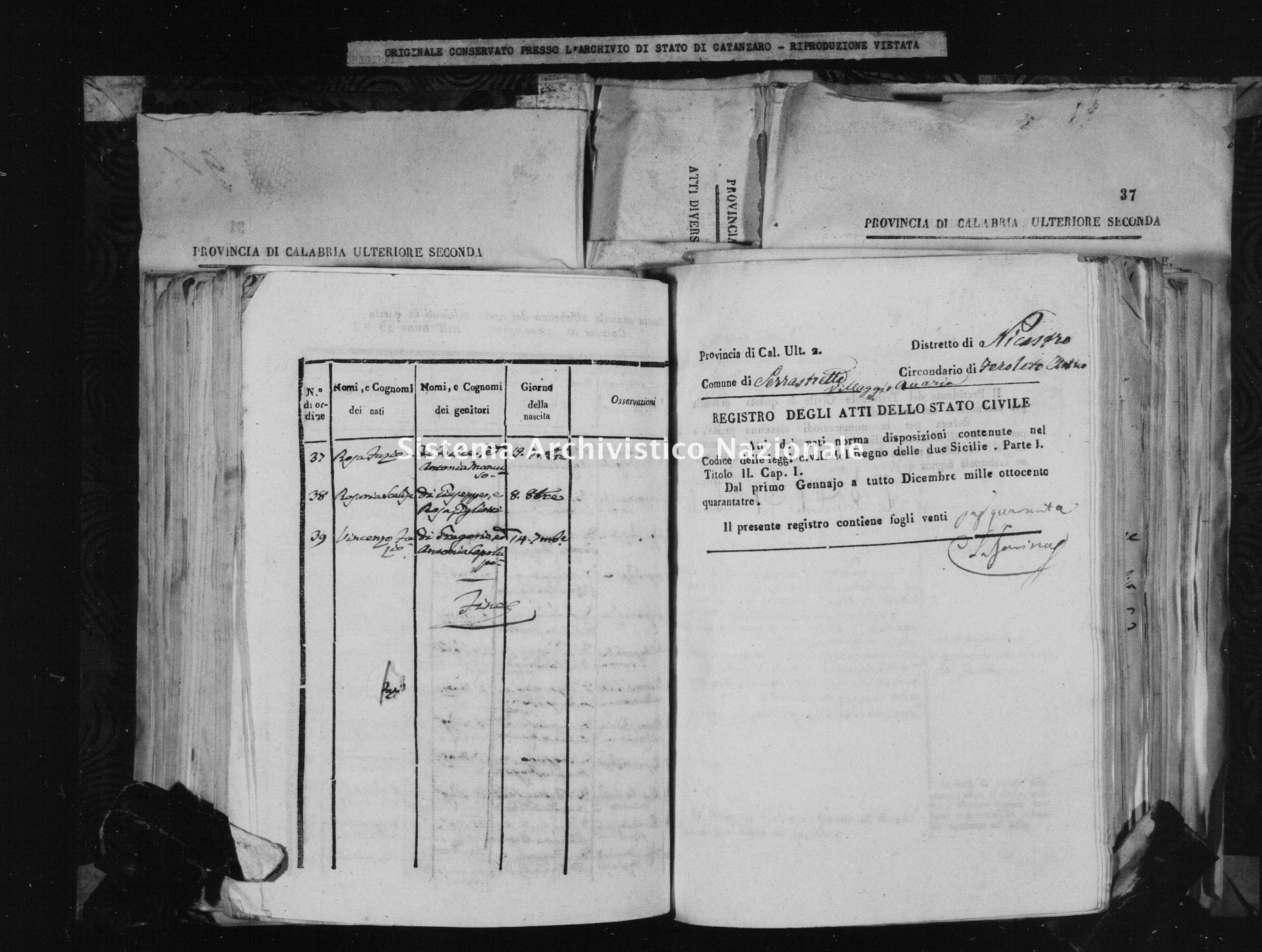 Archivio di stato di Catanzaro - Stato civile della restaurazione - Accaria - Nati - 1843 -