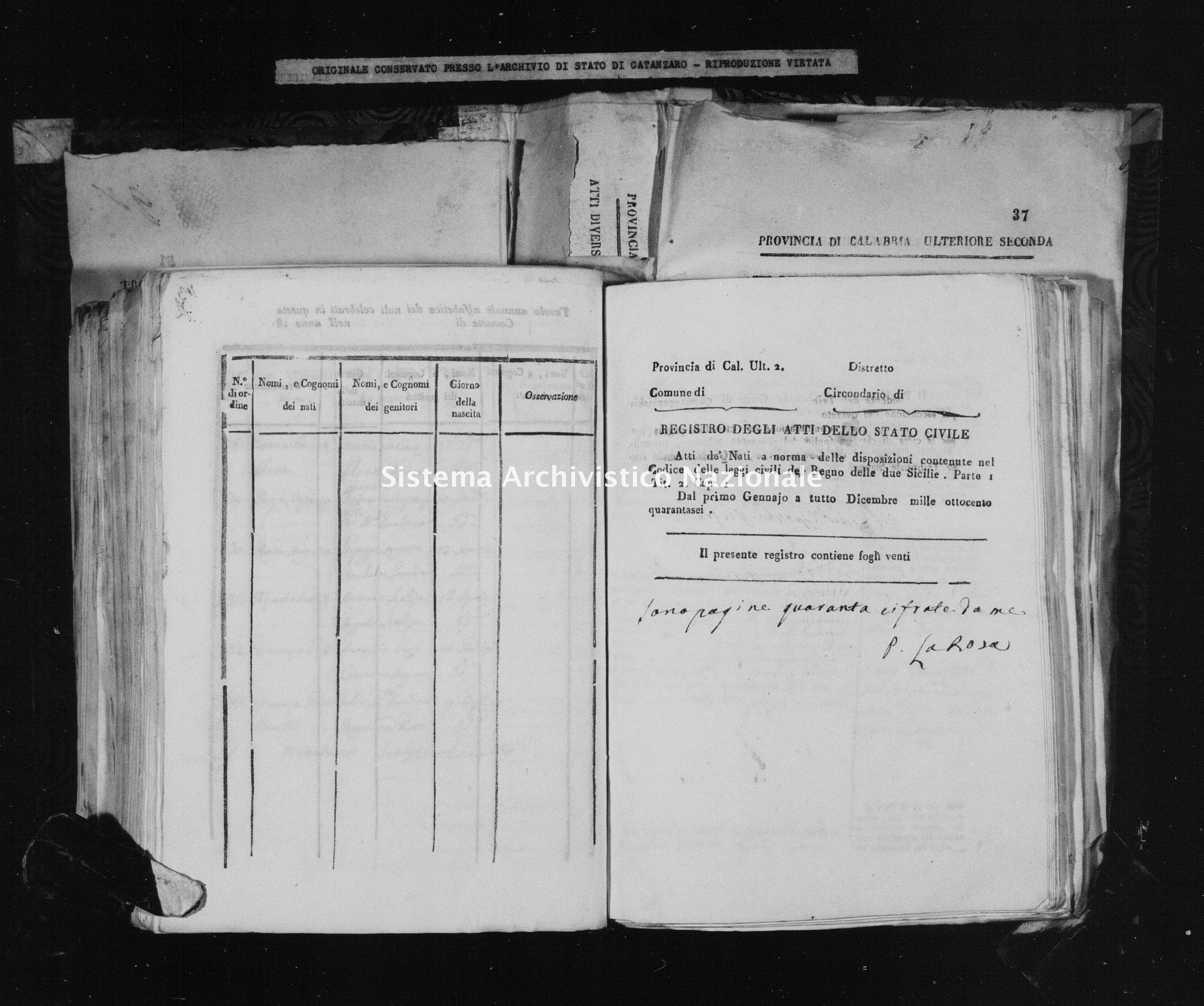 Archivio di stato di Catanzaro - Stato civile della restaurazione - Accaria - Nati - 1846 -