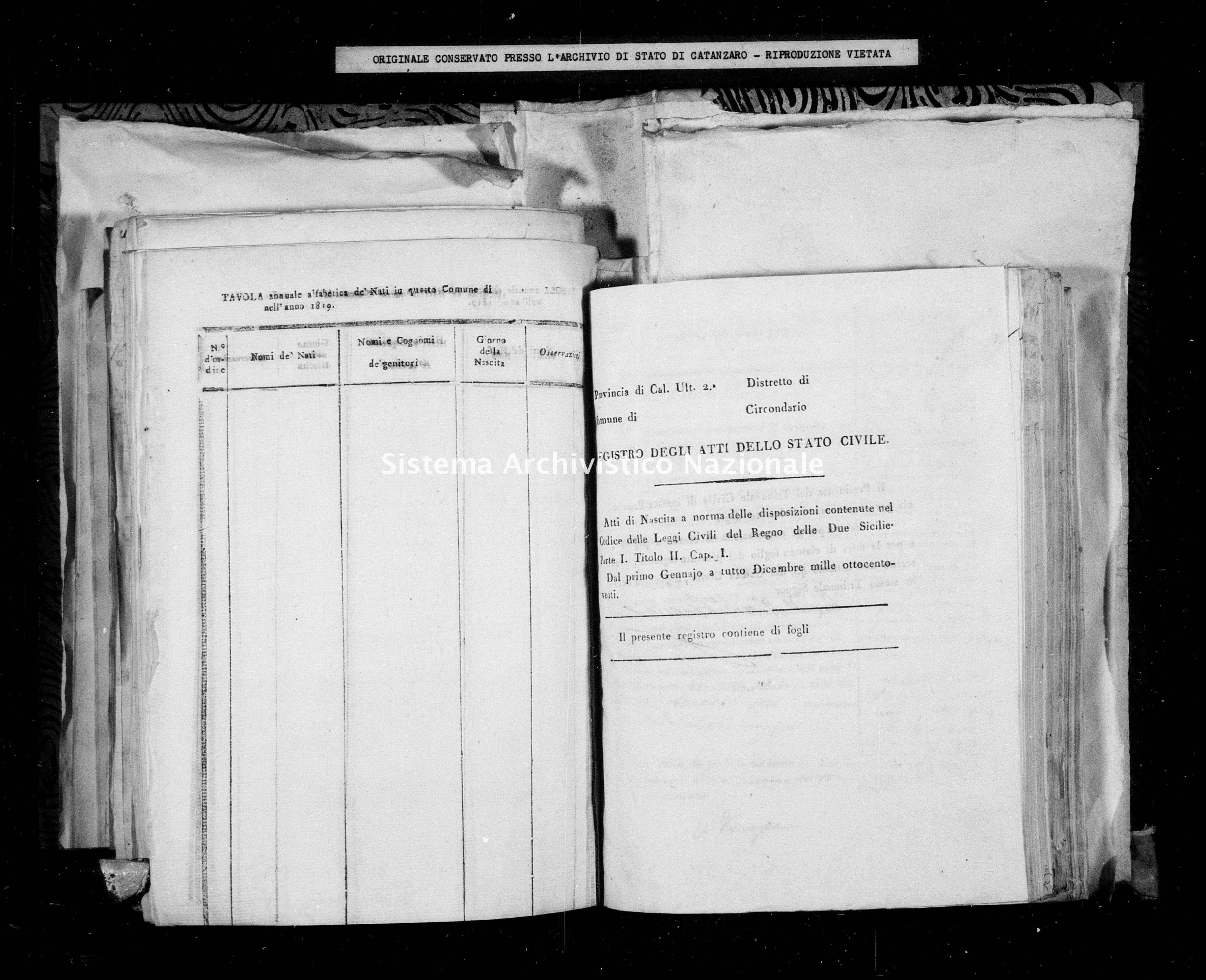 Archivio di stato di Catanzaro - Stato civile della restaurazione - Amaroni - Nati - 1820 -