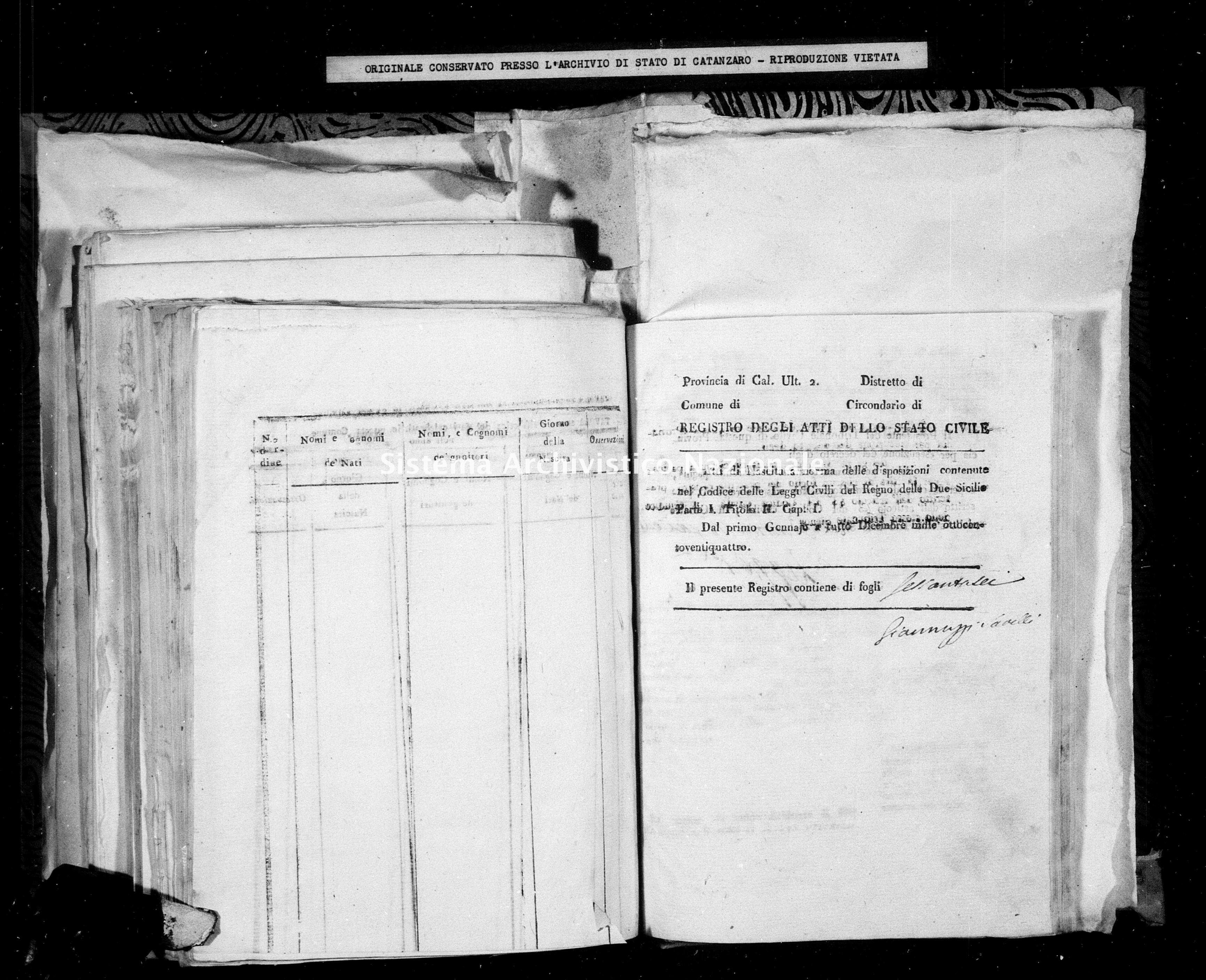 Archivio di stato di Catanzaro - Stato civile della restaurazione - Amaroni - Nati - 1824 -
