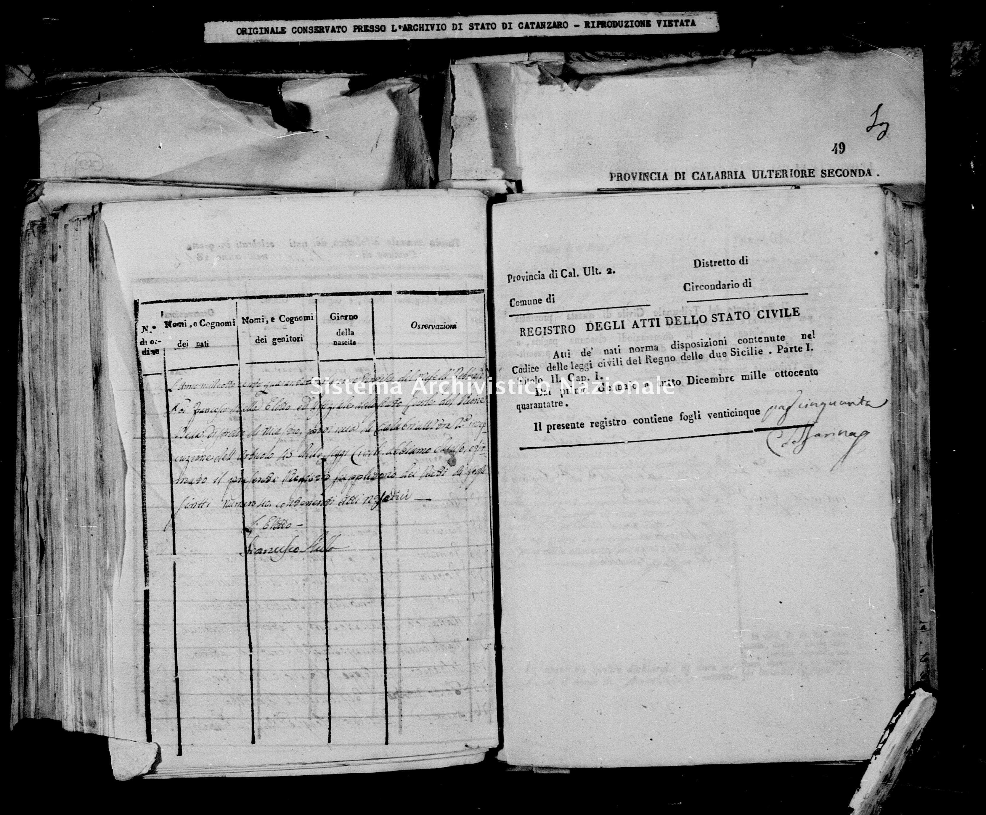 Archivio di stato di Catanzaro - Stato civile della restaurazione - Bella - Nati - 1843 -
